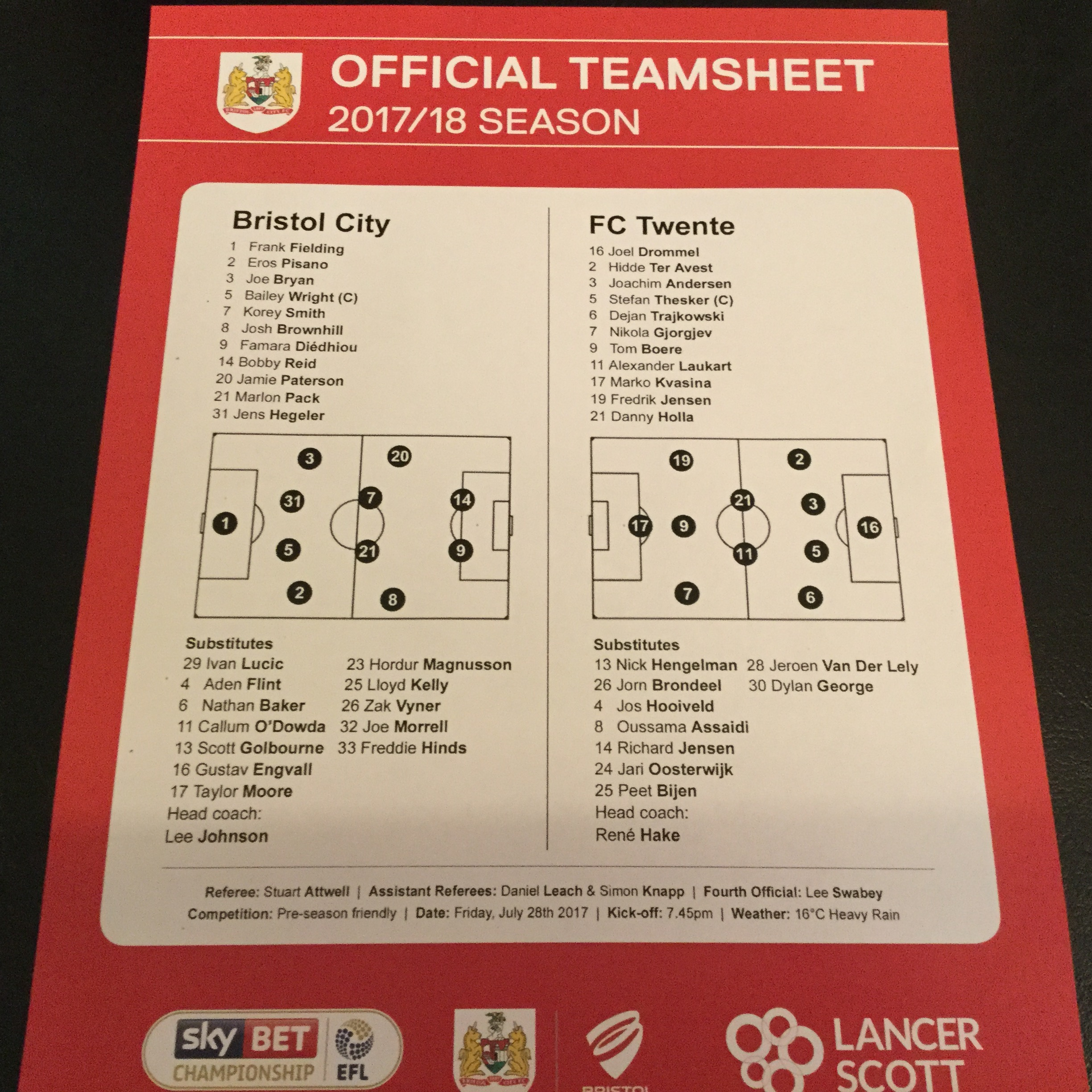 Bristol City v FC Twente 28-07-17 Team Sheet