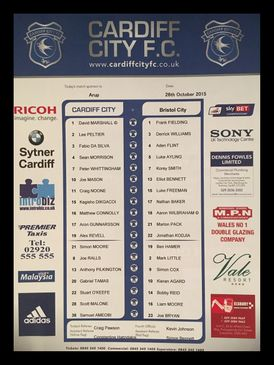 Cardiff City v Bristol City 26-10-2015 Team Sheet