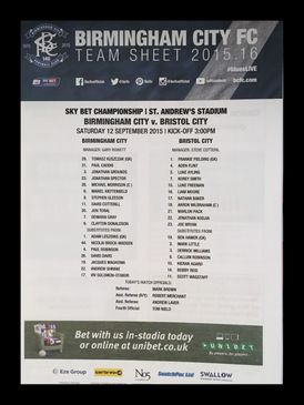 Birmingham City v Bristol City 12-09-2015 Team Sheet