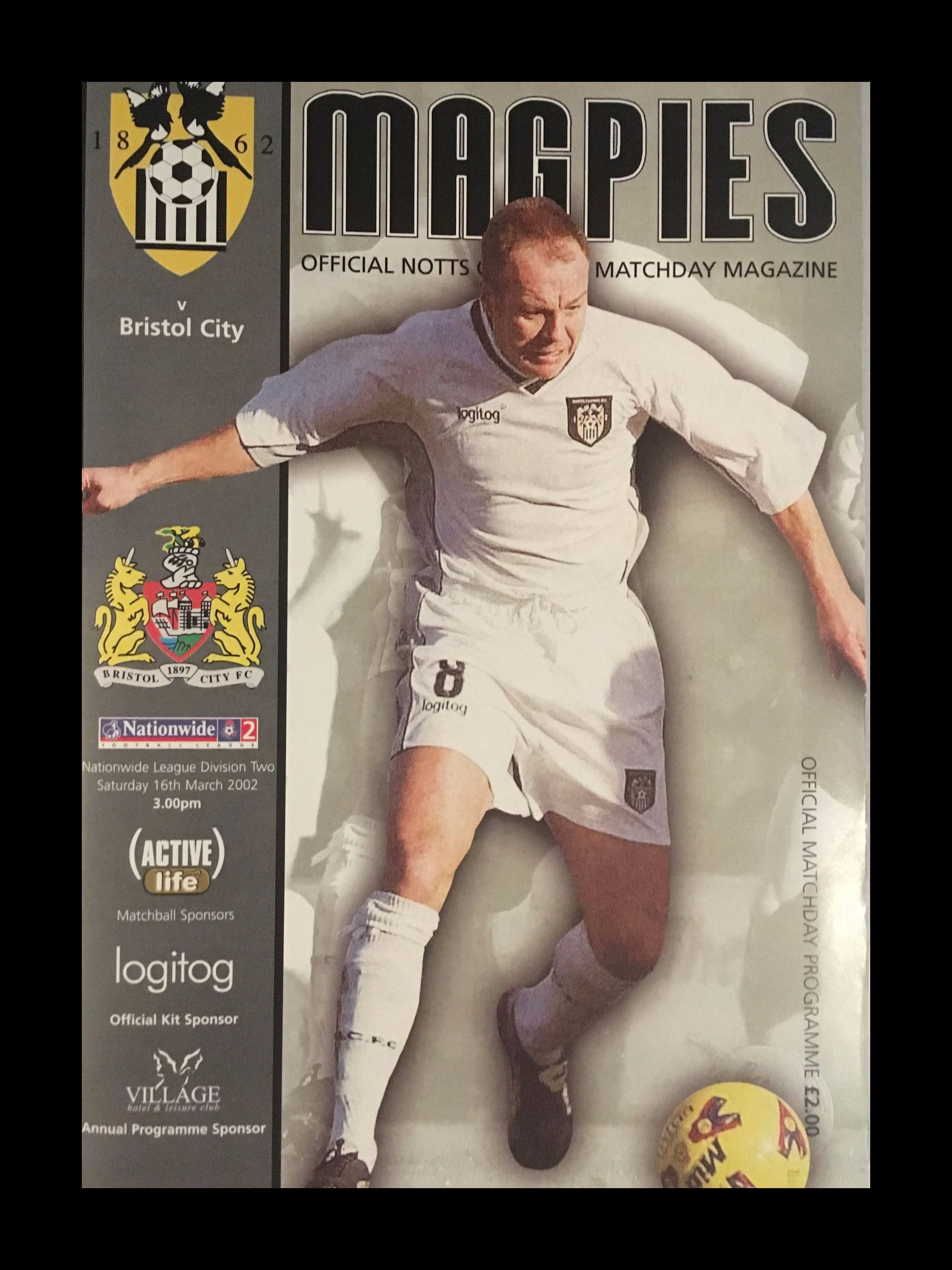 Notts County v Bristol City 16-03-2002 Programme