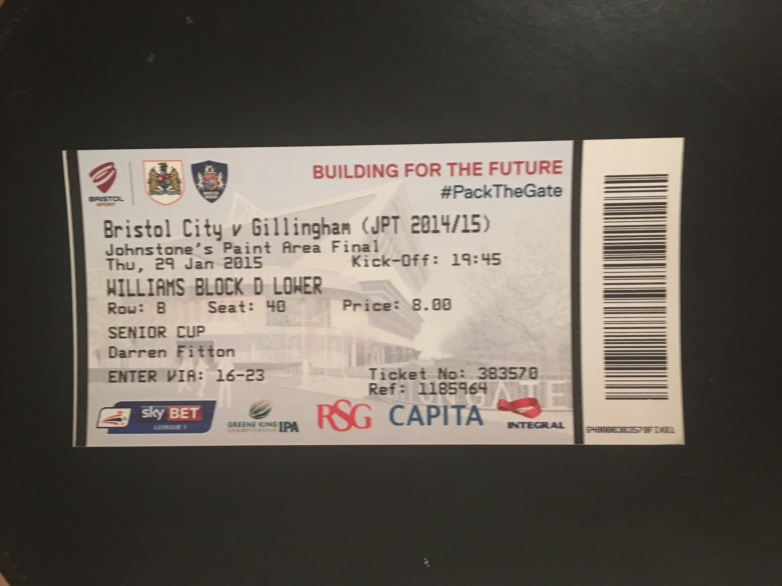 Bristol City v Gillingham 29-01-2015 Ticket