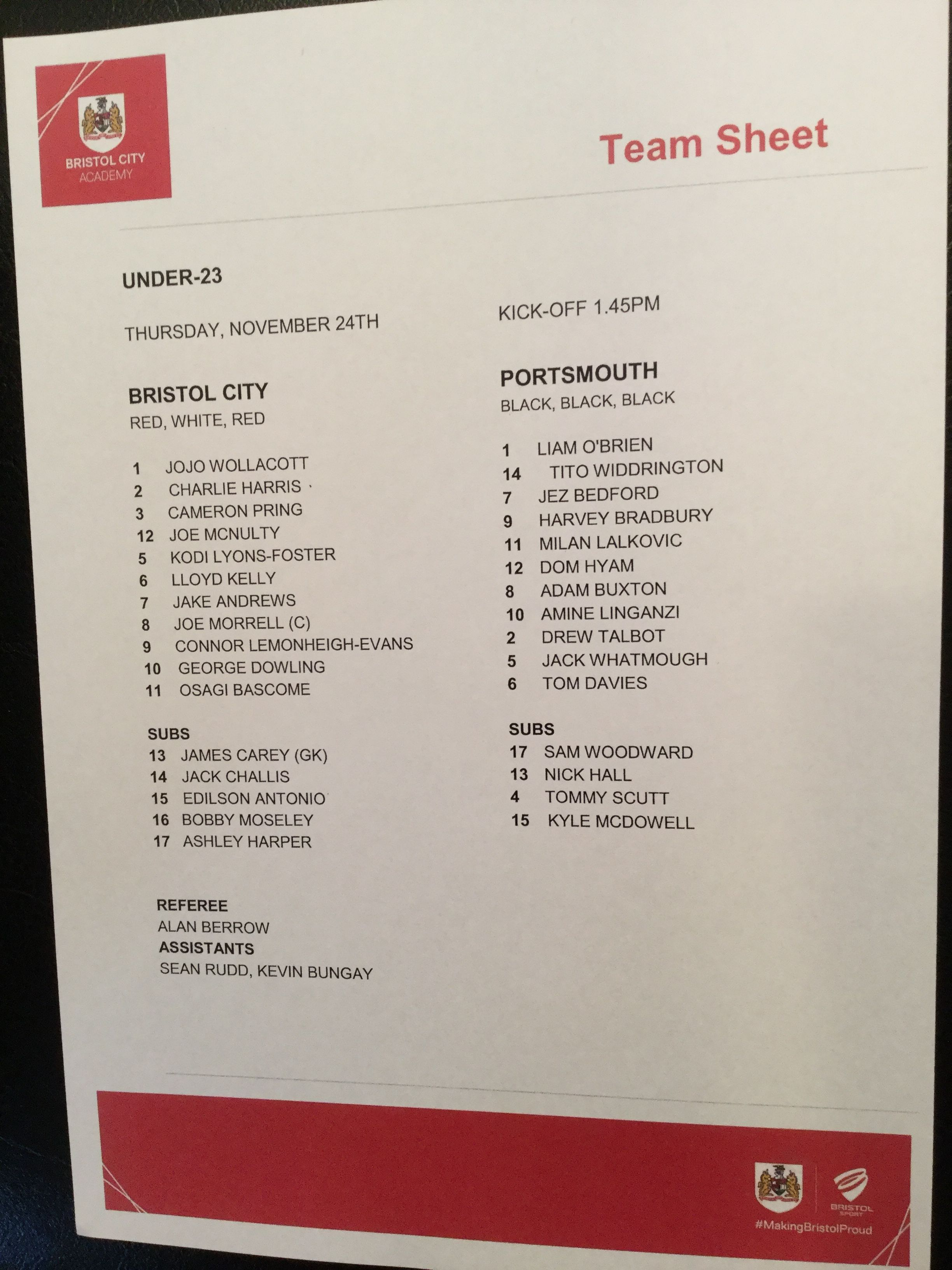 Bristol City v Portsmouth 24-11-16 Team Sheet