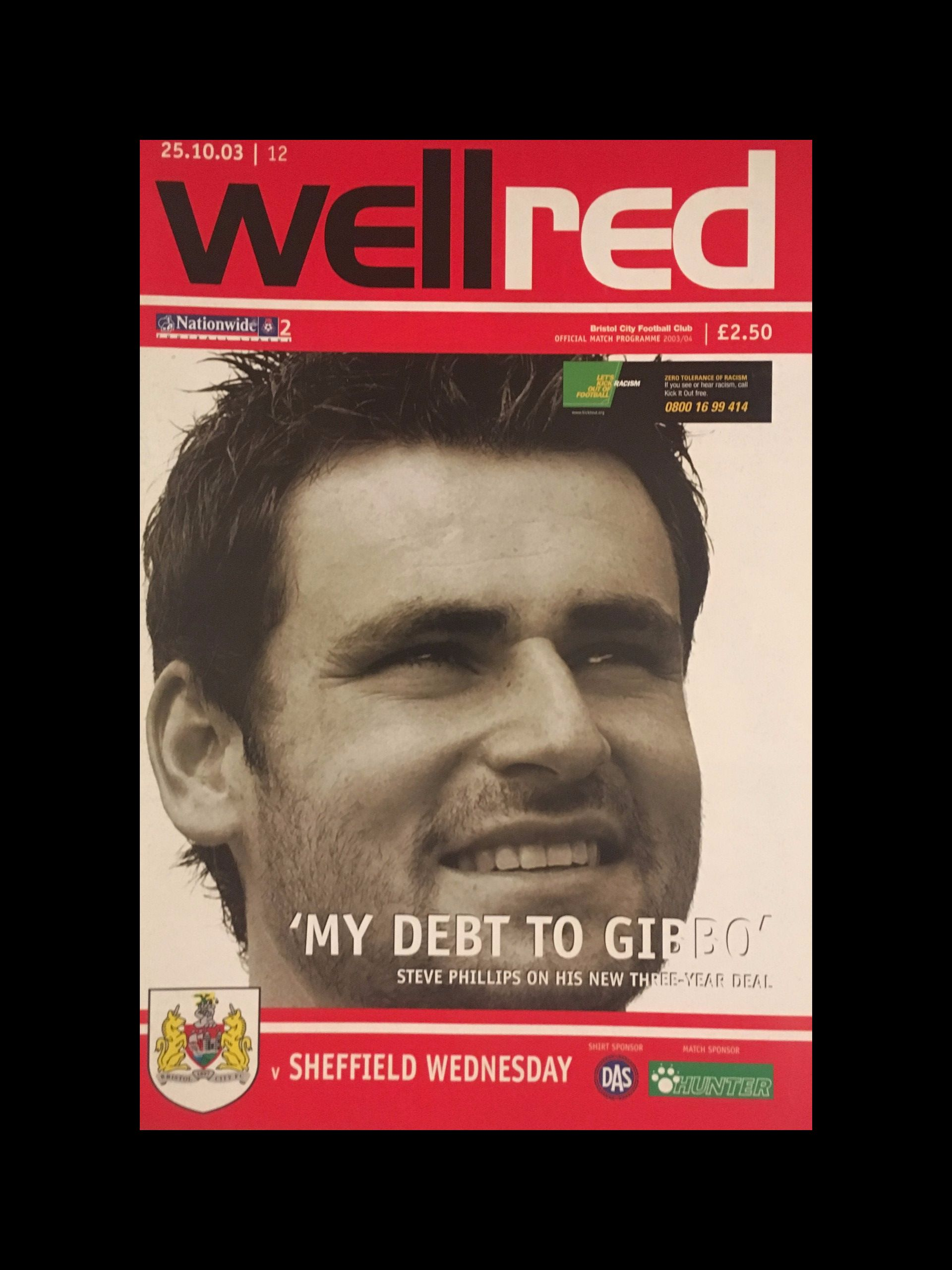Bristol City v Sheffield Wednesday 25-10-2003 Programme