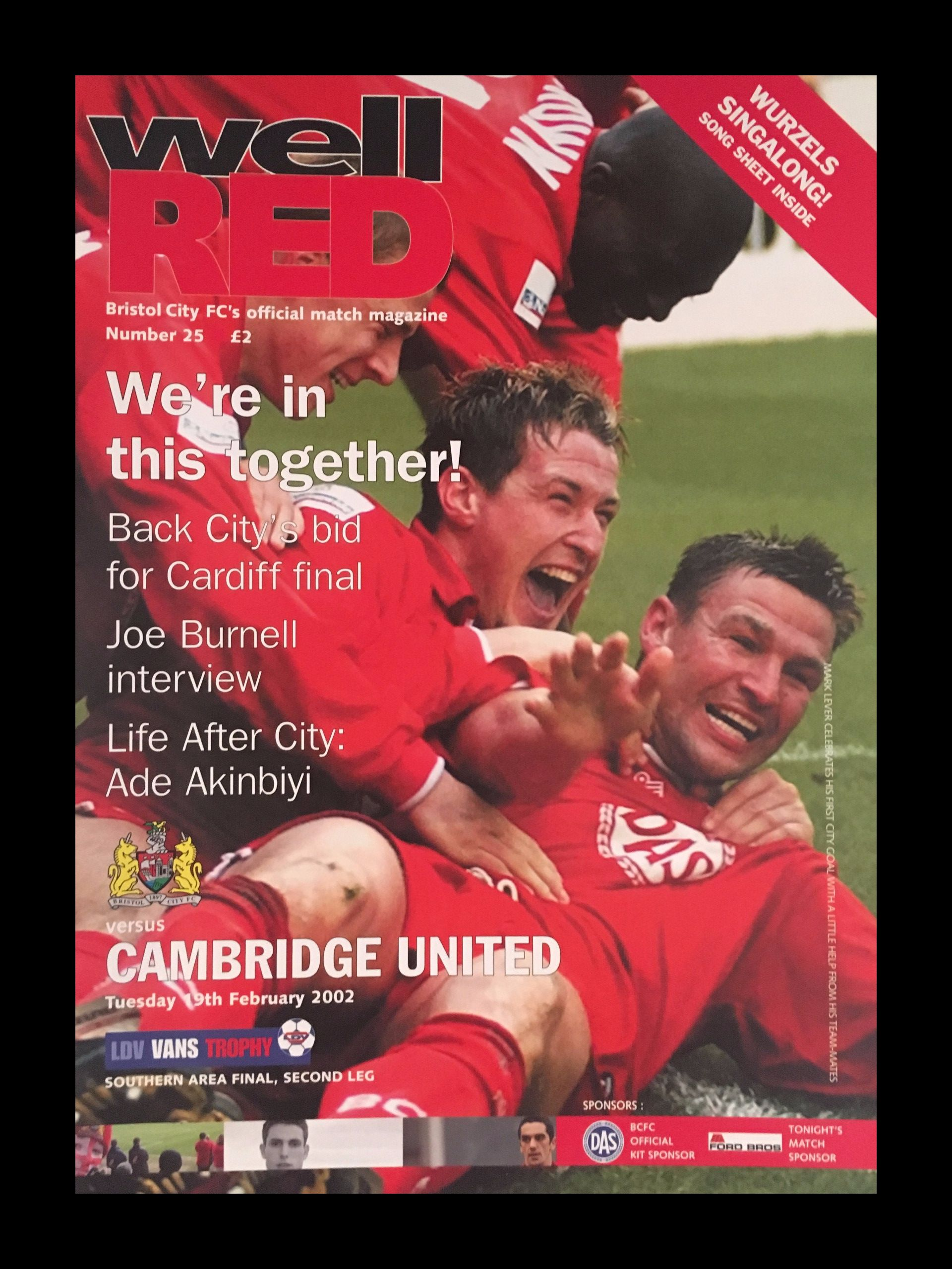 Bristol City v Cambridge United 19-02-2002 Programme