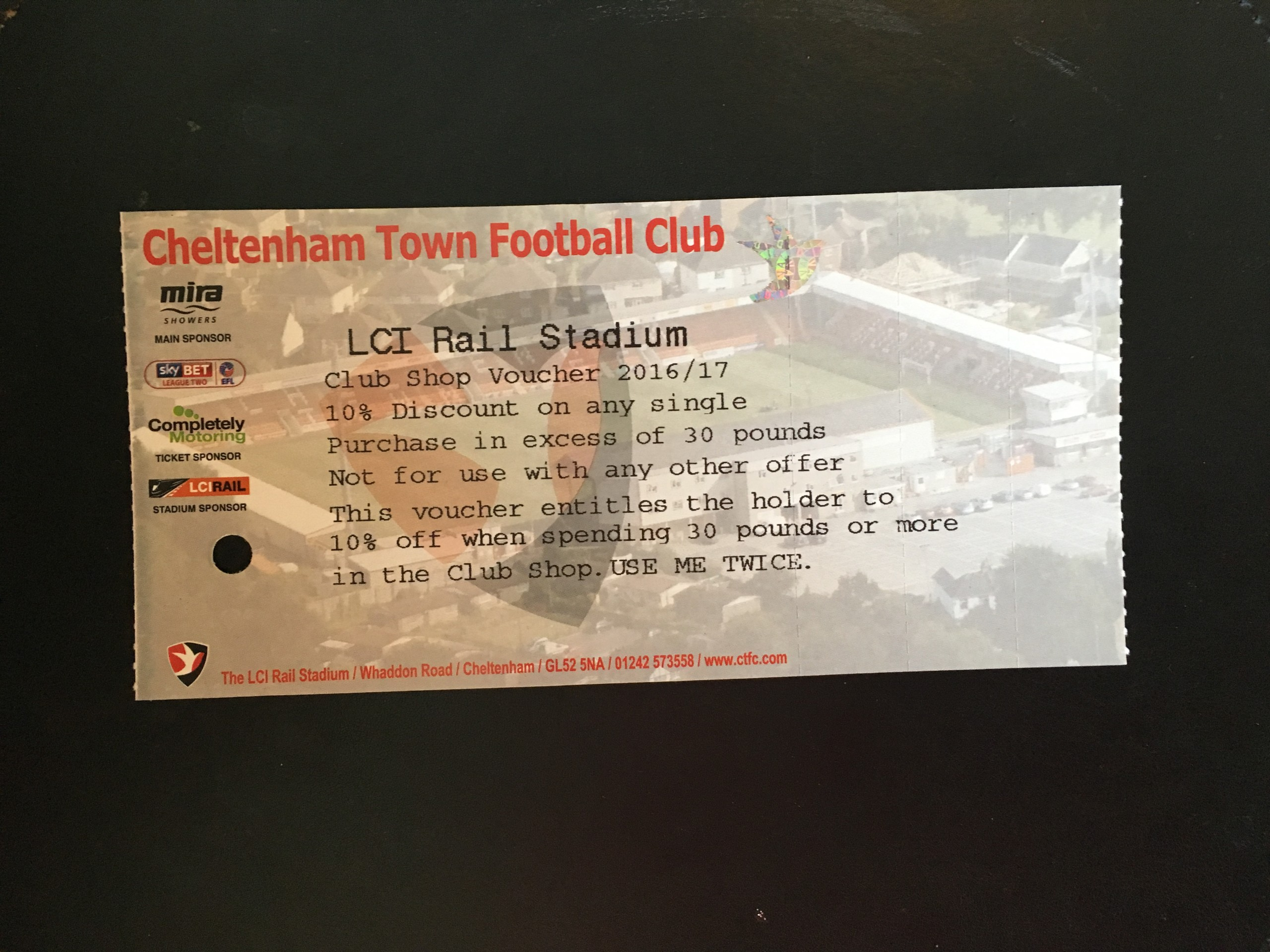 Cheltenham Town v Bristol City 25-07-2016 Ticket