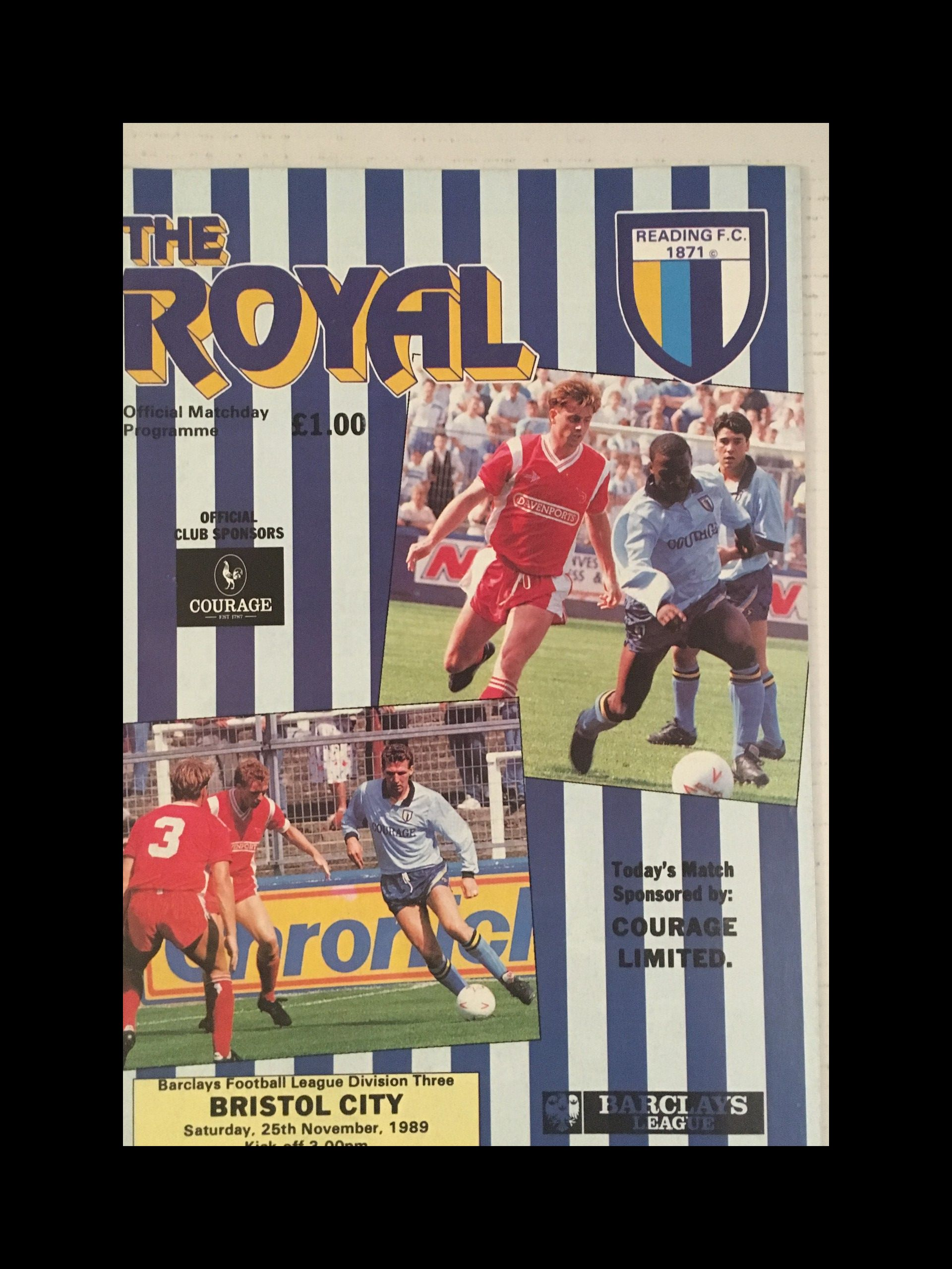 Reading v Bristol City 25-11-1989 Programme