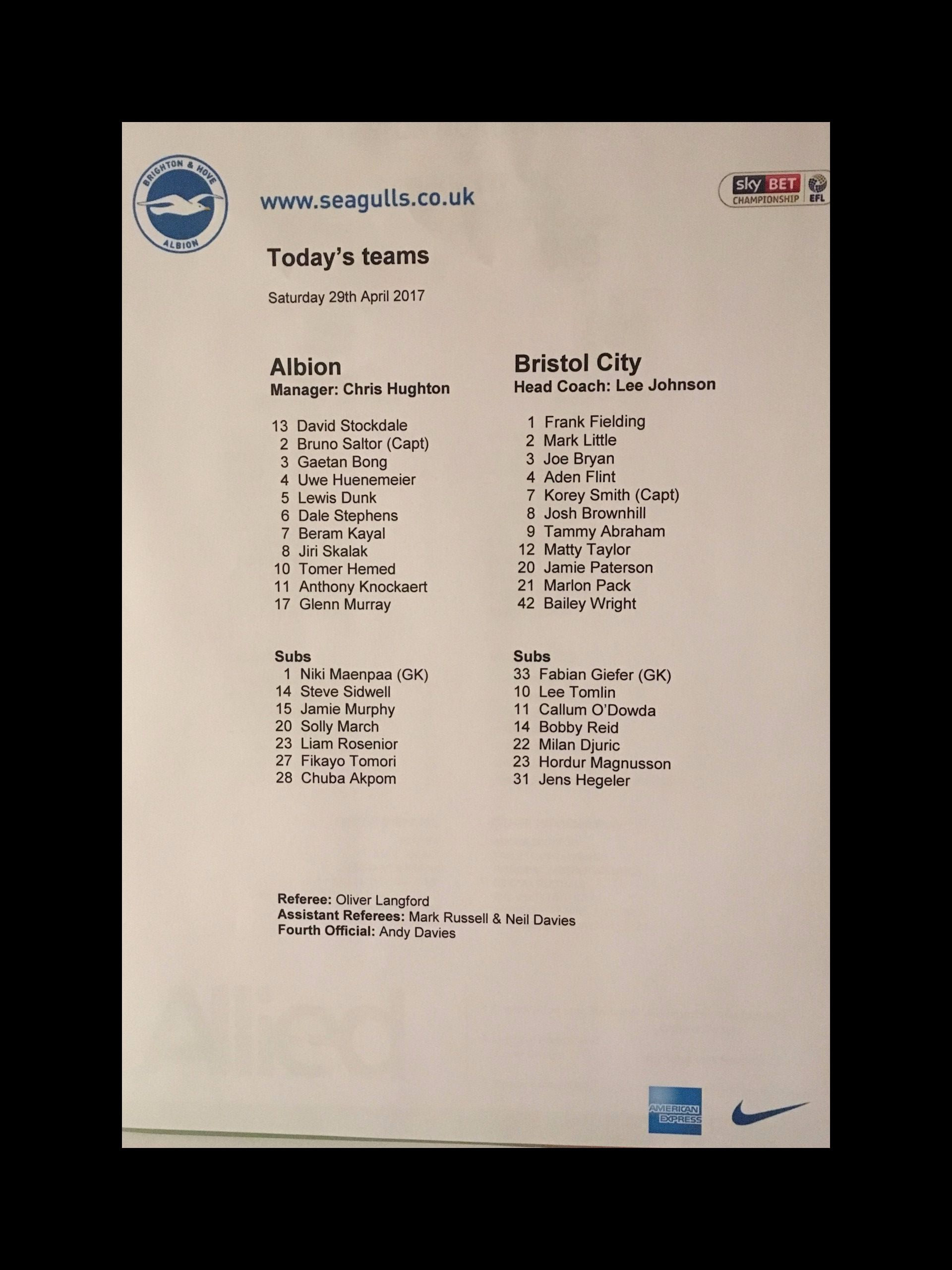 Brighton & Hove Albion v Bristol City 29-04-17 Team Sheet