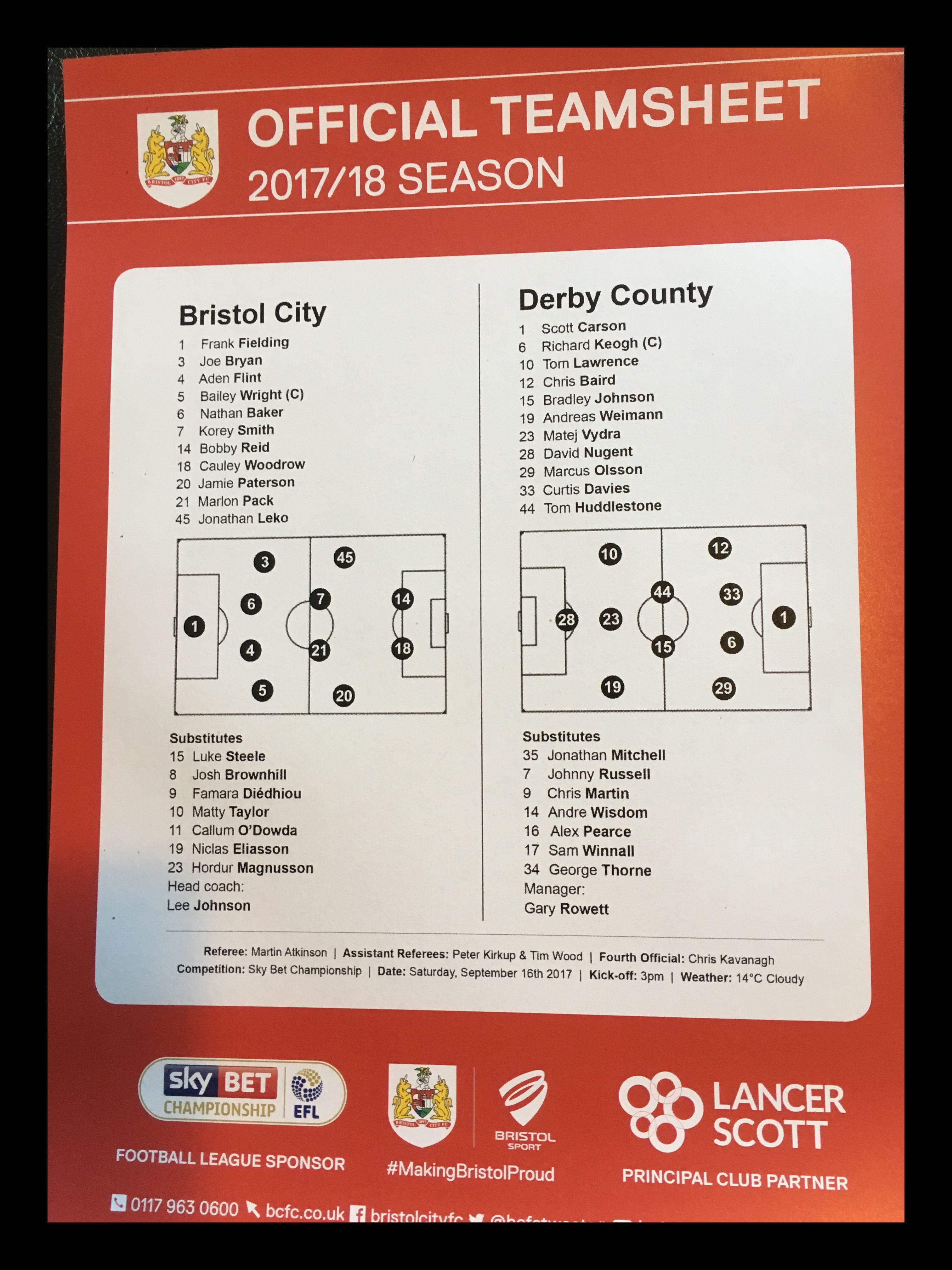 Bristol City v Derby County 16-09-17 Team Sheet