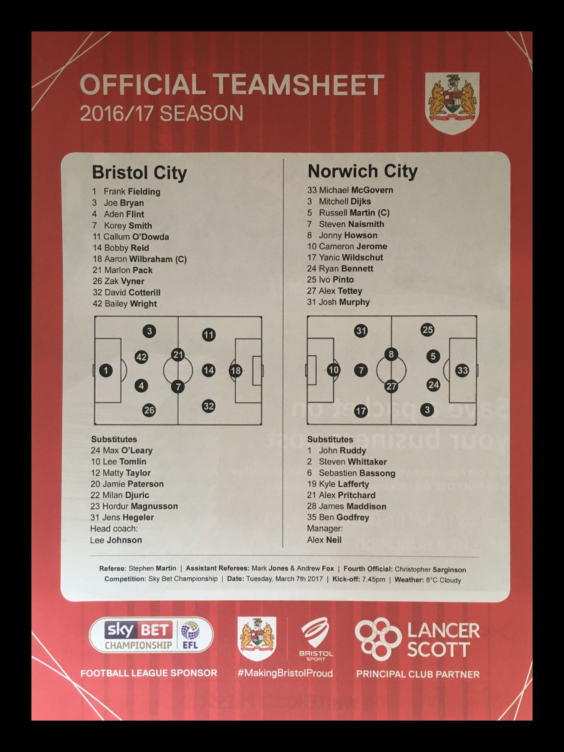 Bristol City v Norwich City 07-03-17 Team Sheet