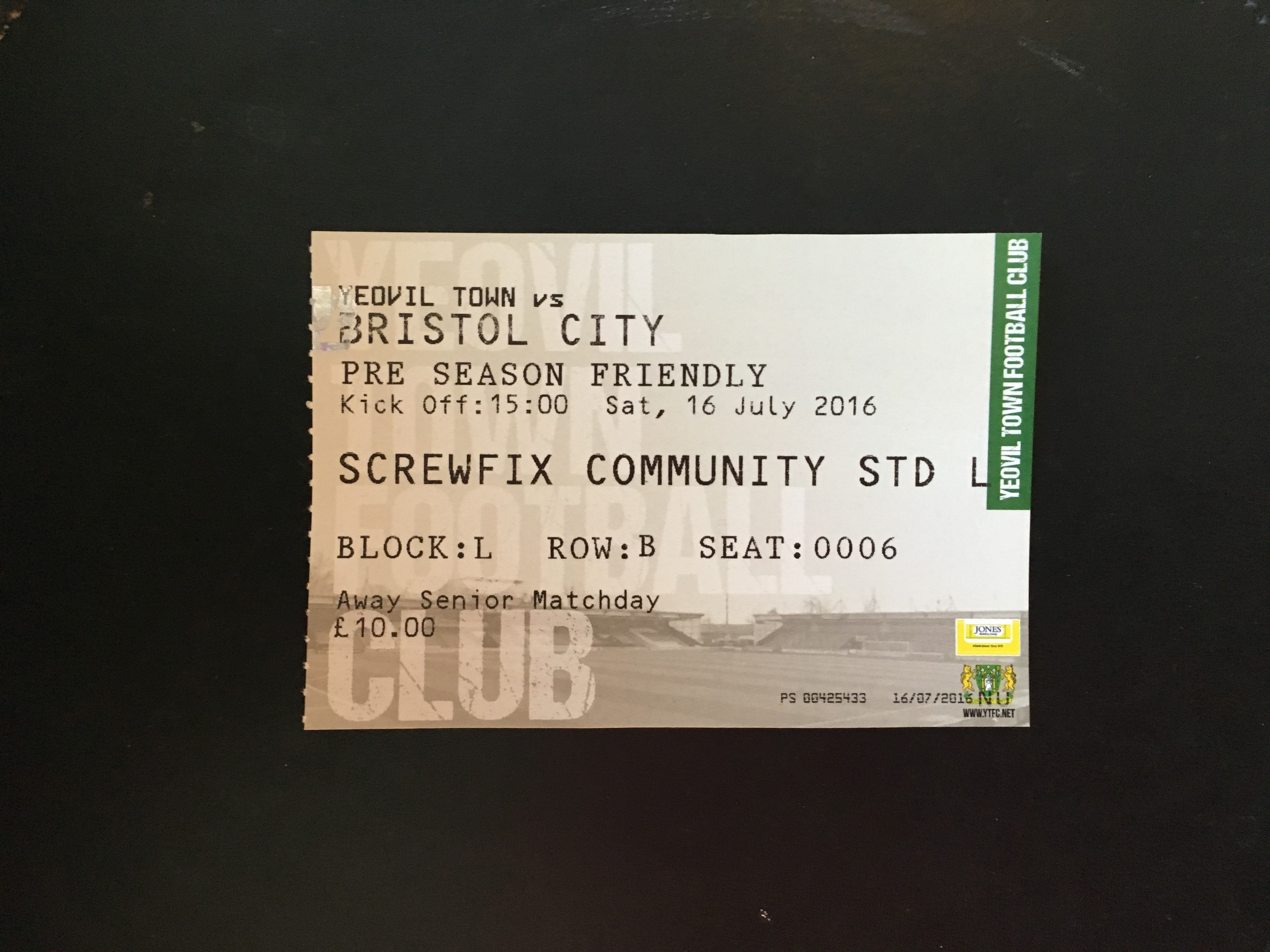 Yeovil Town v Bristol City 16-07-2016 Ticket