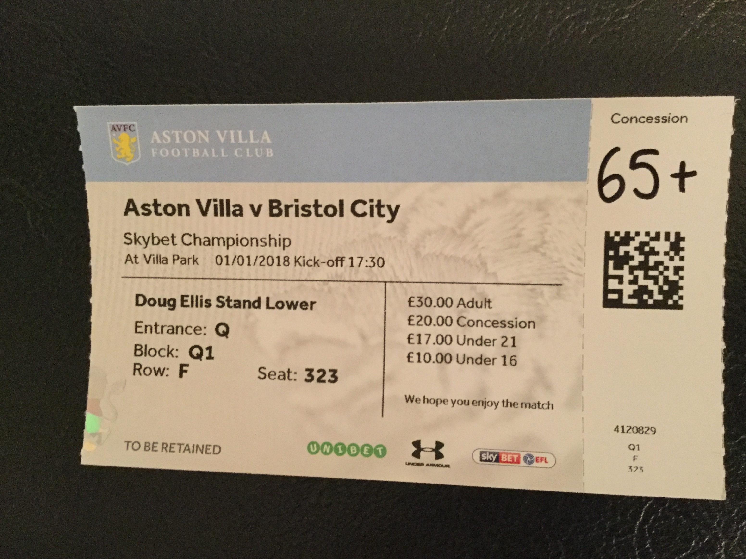 Aston Villa v Bristol City 01-01-18 Ticket