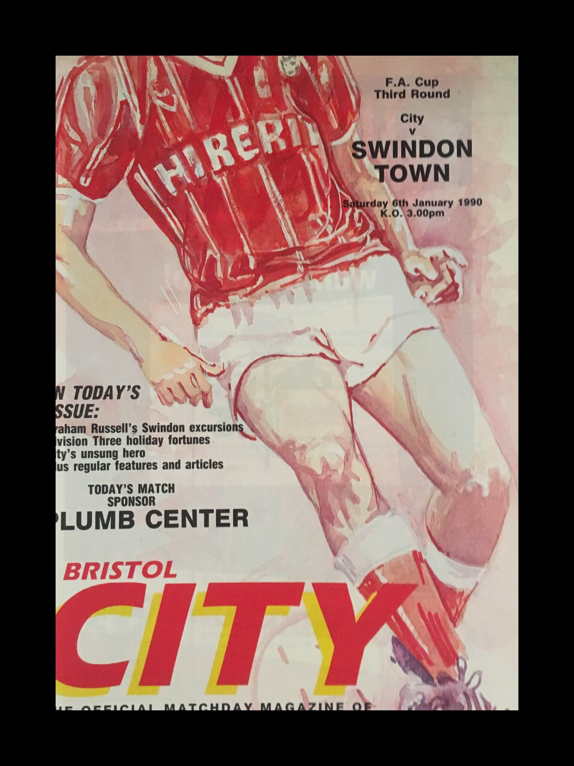 Bristol City v Swindon Town 06-01-1990 Programme