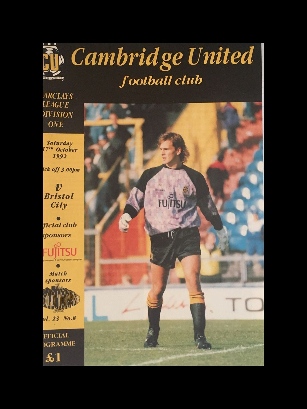 Cambridge United v Bristol City 17-10-1992 Programme