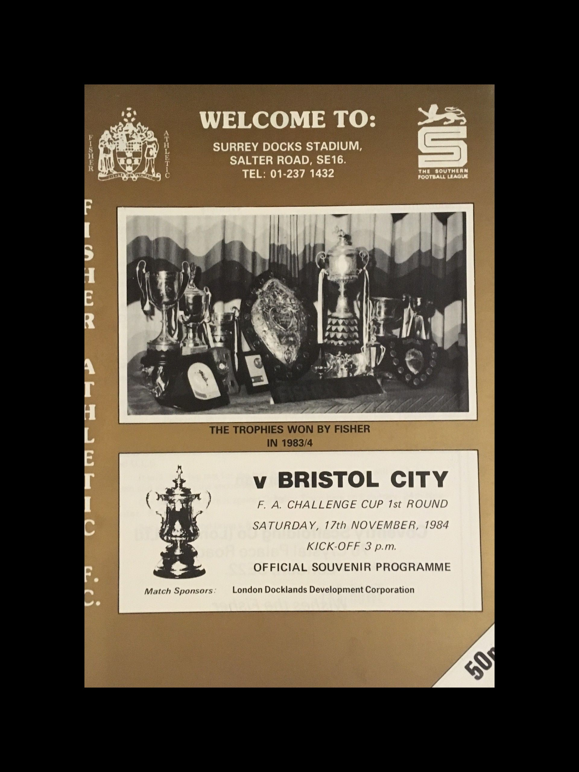 Fisher Athletic v Bristol City 17-11-84 Programme