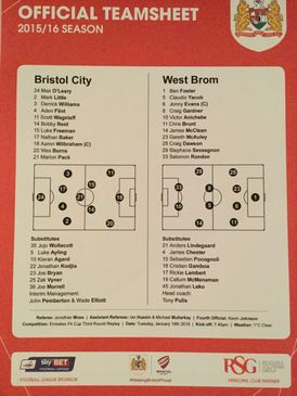 Bristol City v West Bromwich Albion 19-01-2016 Team Sheet