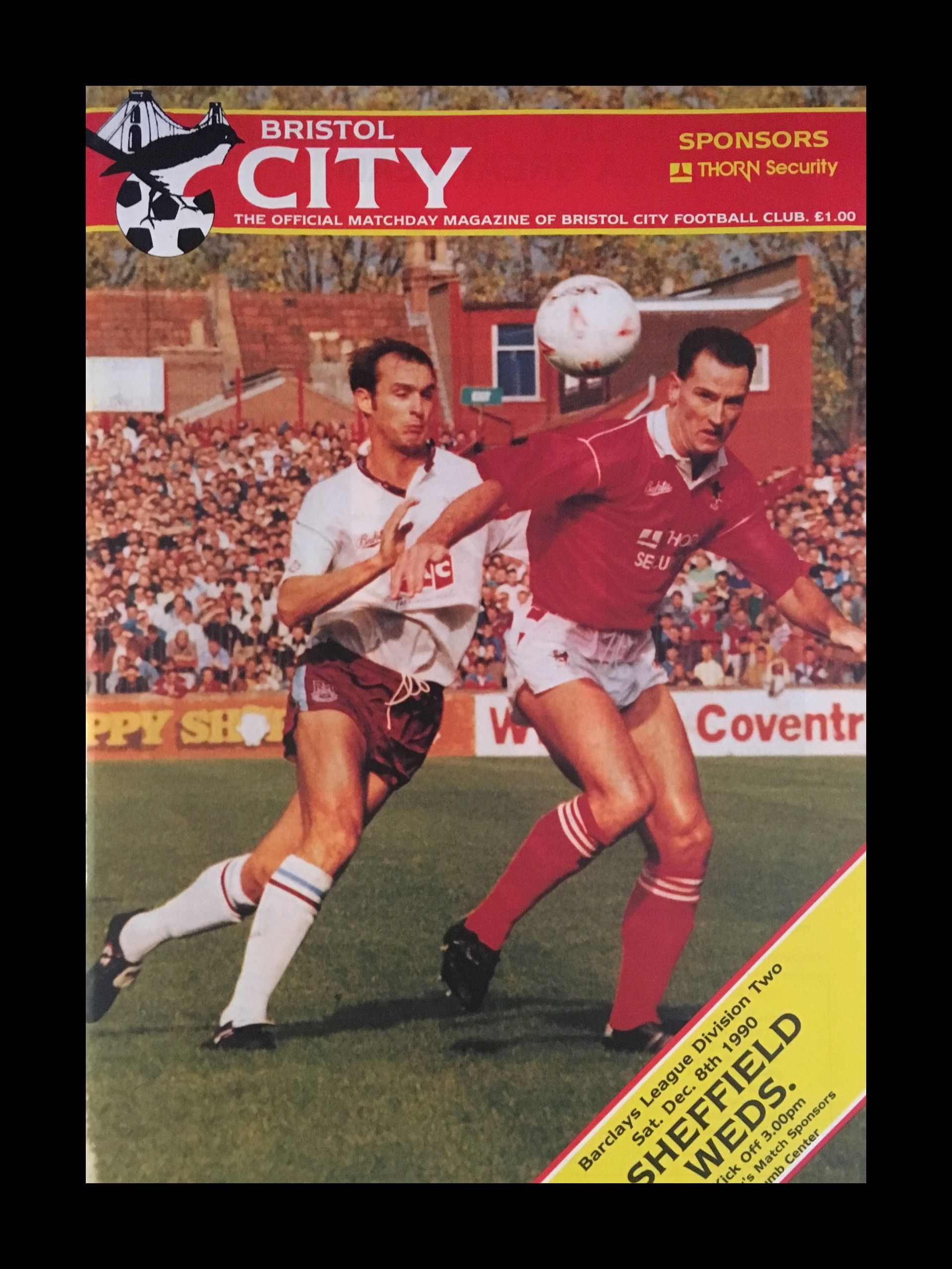 Bristol City v Sheffield Wednesday 08-12-1990 Programme