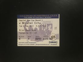 Gillingham v Bristol City 06-08-2013 Ticket