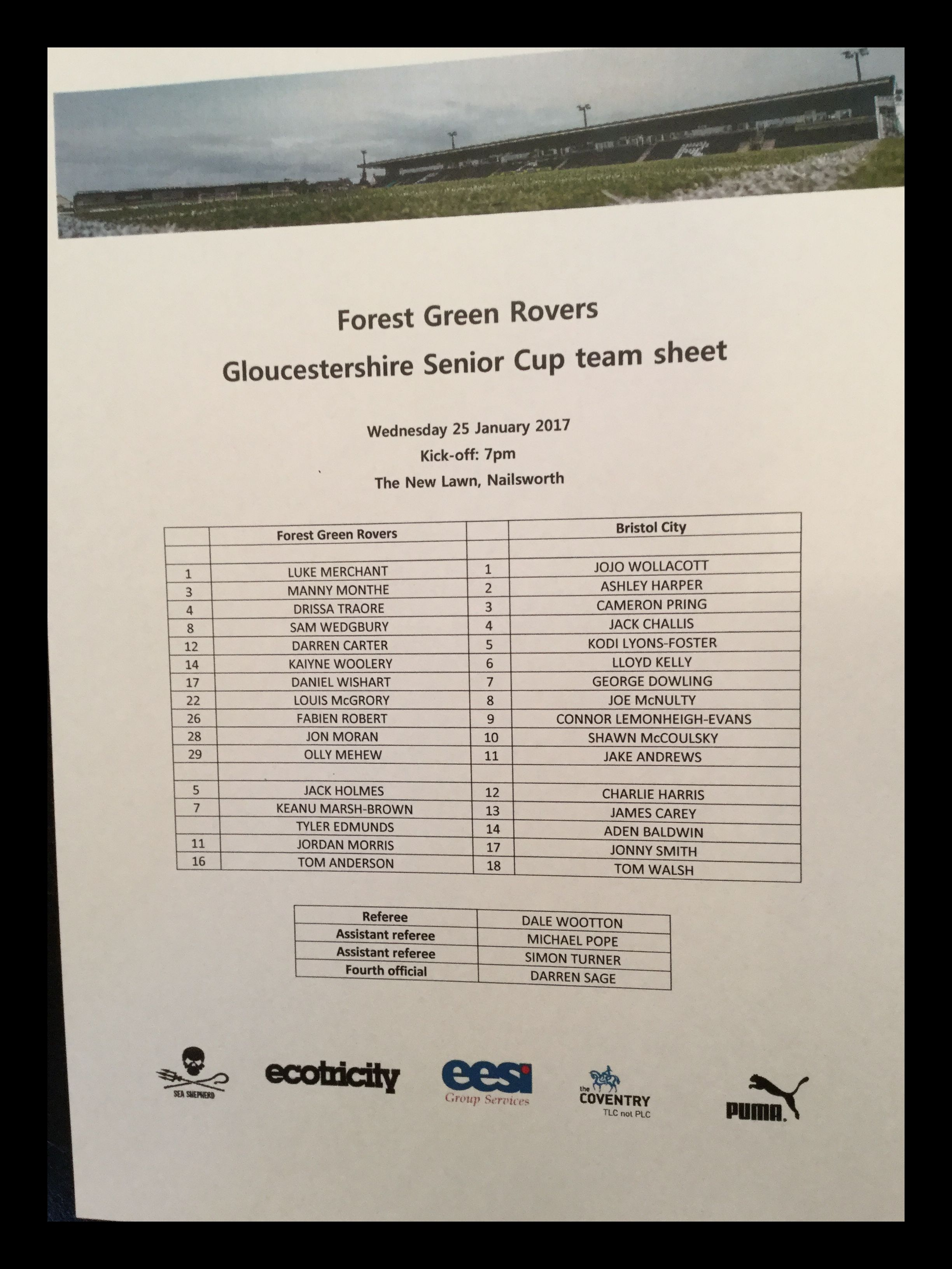 Forest Green Rovers v Bristol City 25-01-17 Team Sheet