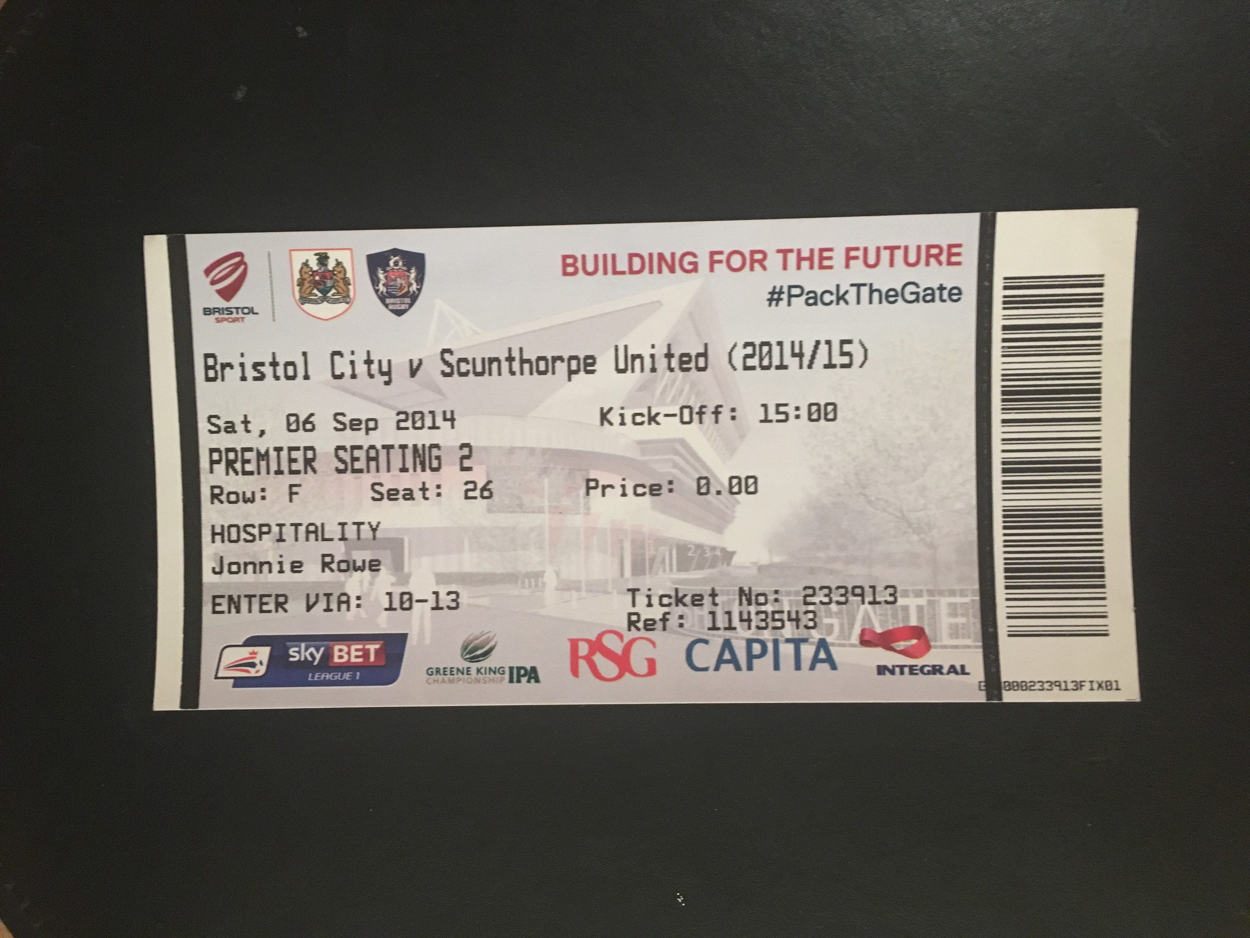 Bristol City v Scunthorpe United 06-09-2014 Ticket