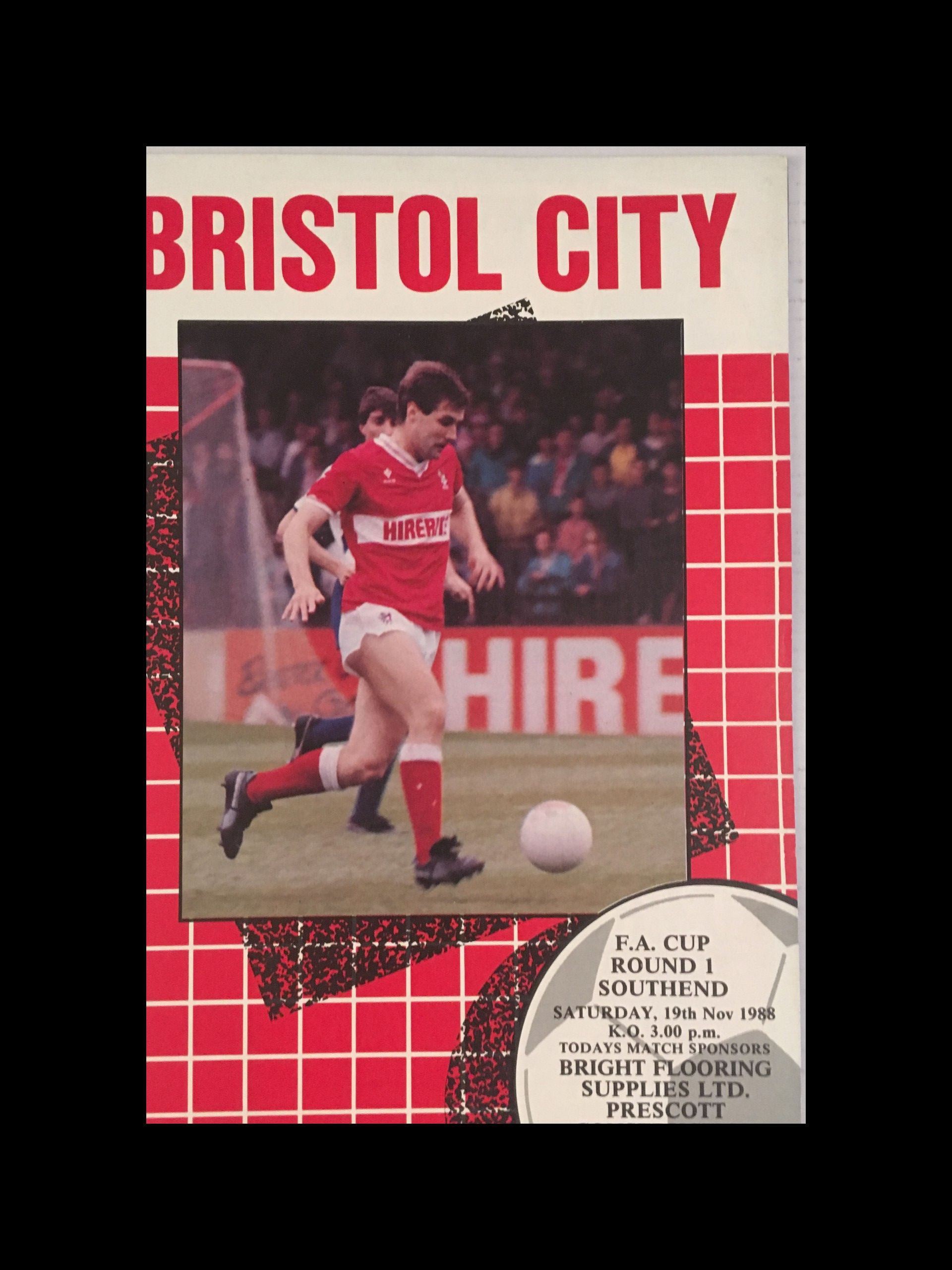 Bristol City v Southend United 19-11-1988 Programme