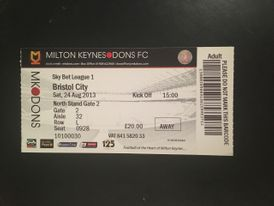 MK Dons v Bristol City 24-08-2013 Ticket