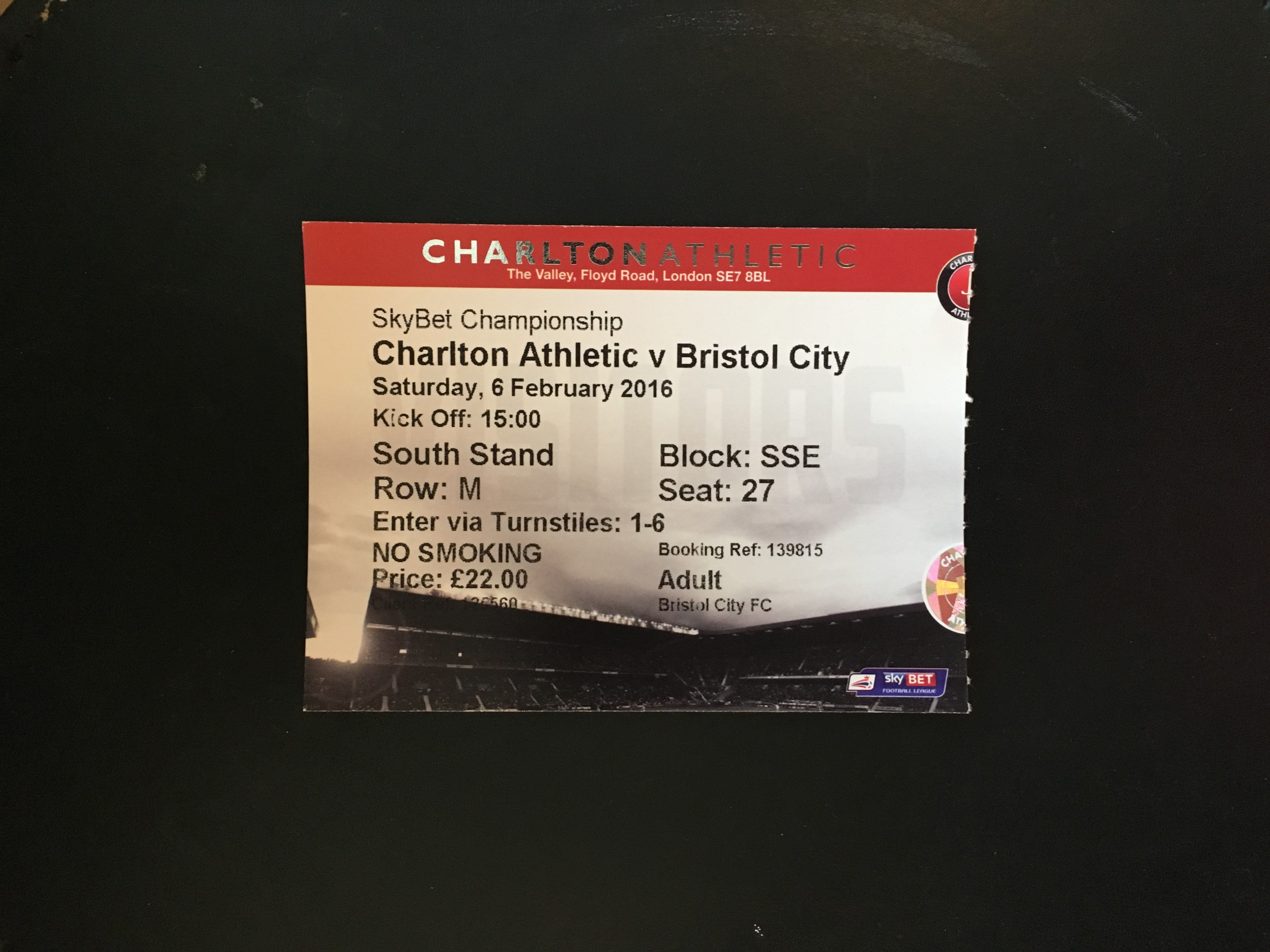 Charlton Athletic v Bristol City 06-02-2016 Ticket