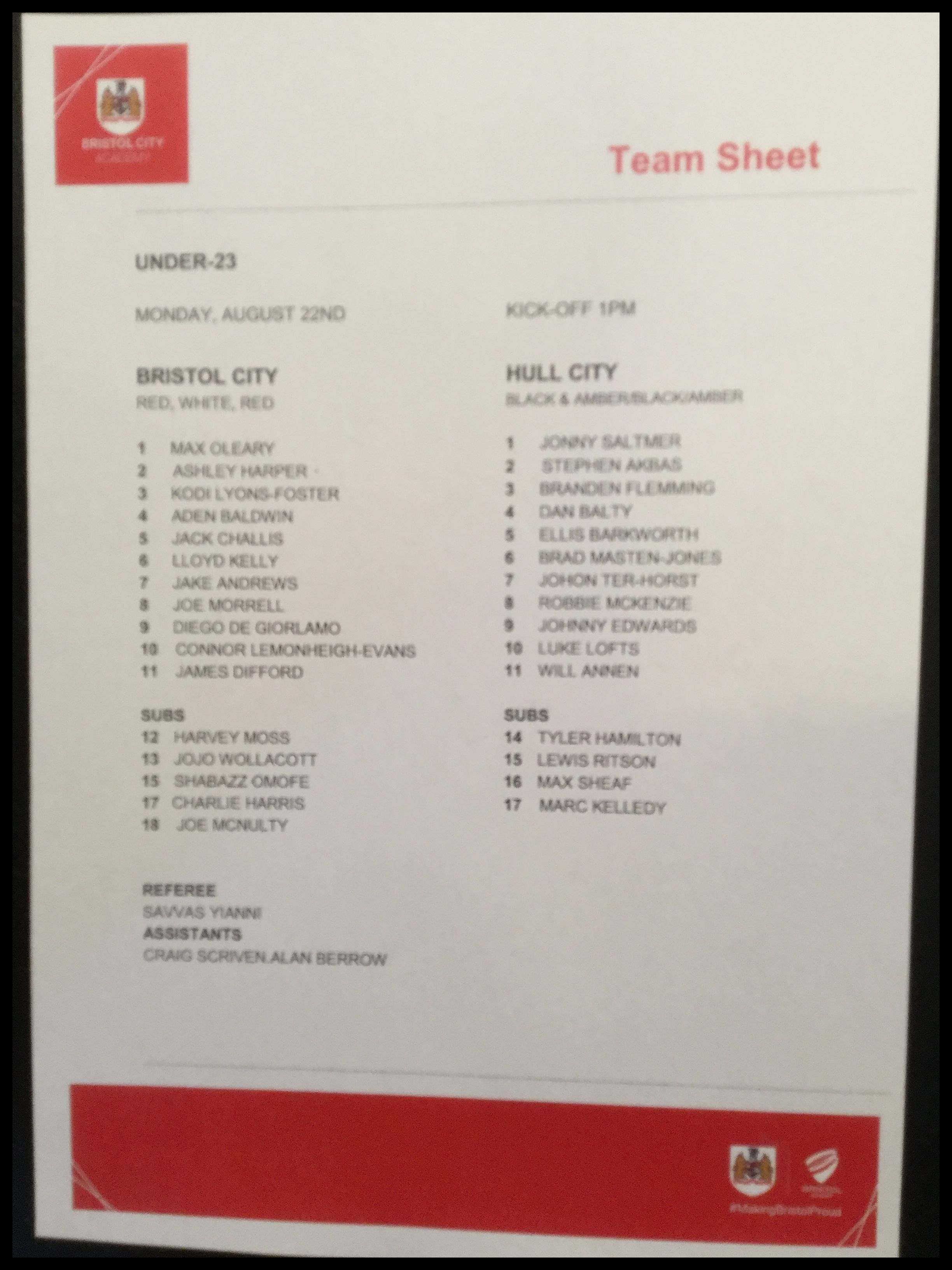 Bristol City v Hull City 22-08-16 Team Sheet