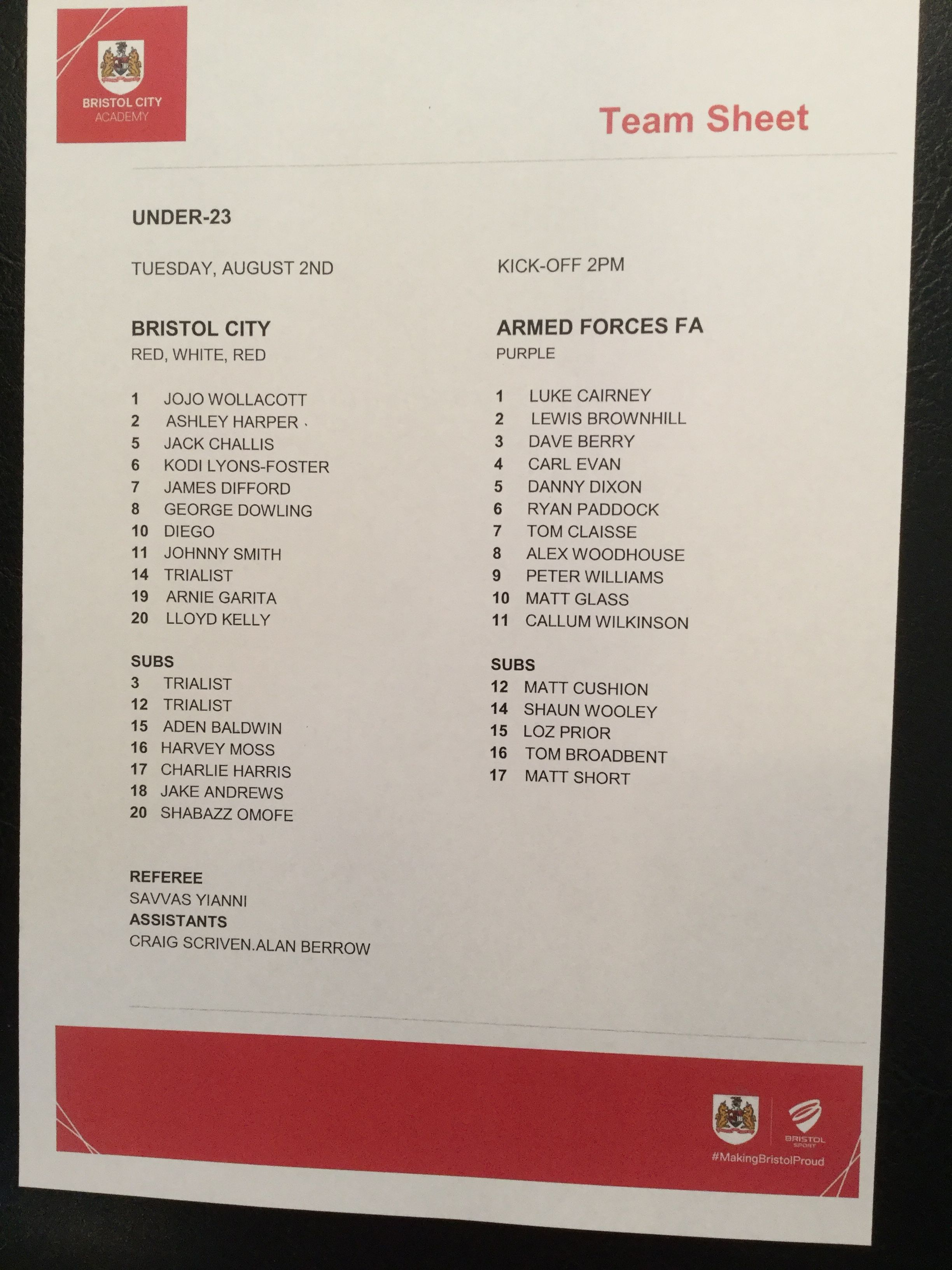 Bristol City v Armed Forces FA 02-08-16 Team Sheet