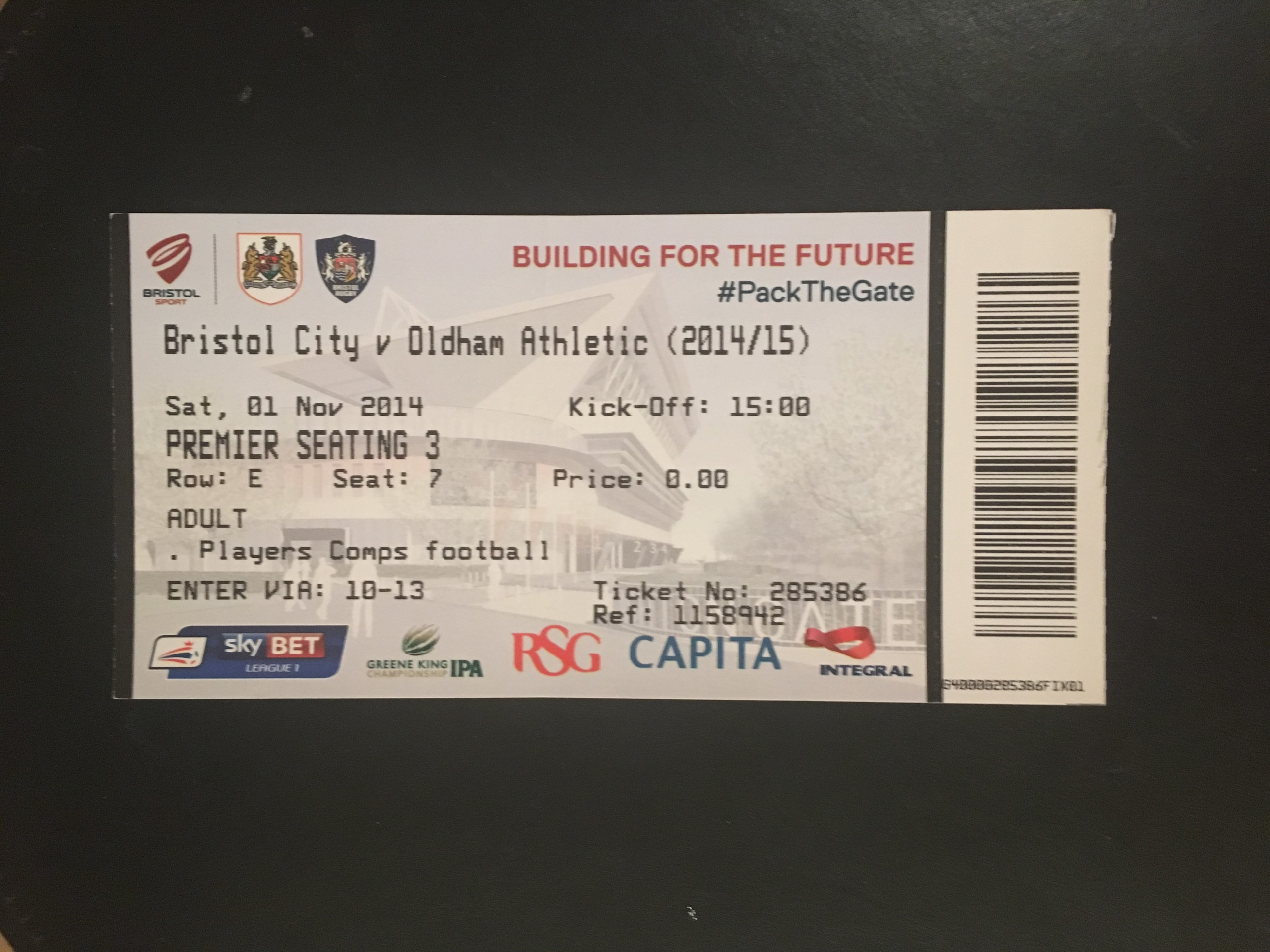 Bristol City v Oldham Athletic 01-11-2014 Ticket