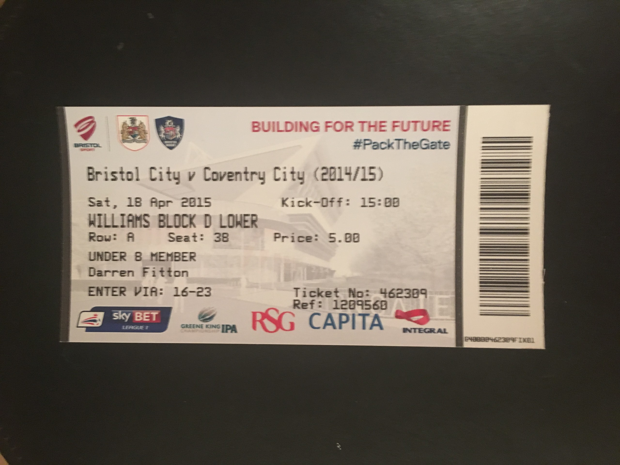 Bristol City v Coventry City 18-04-2015 Ticket