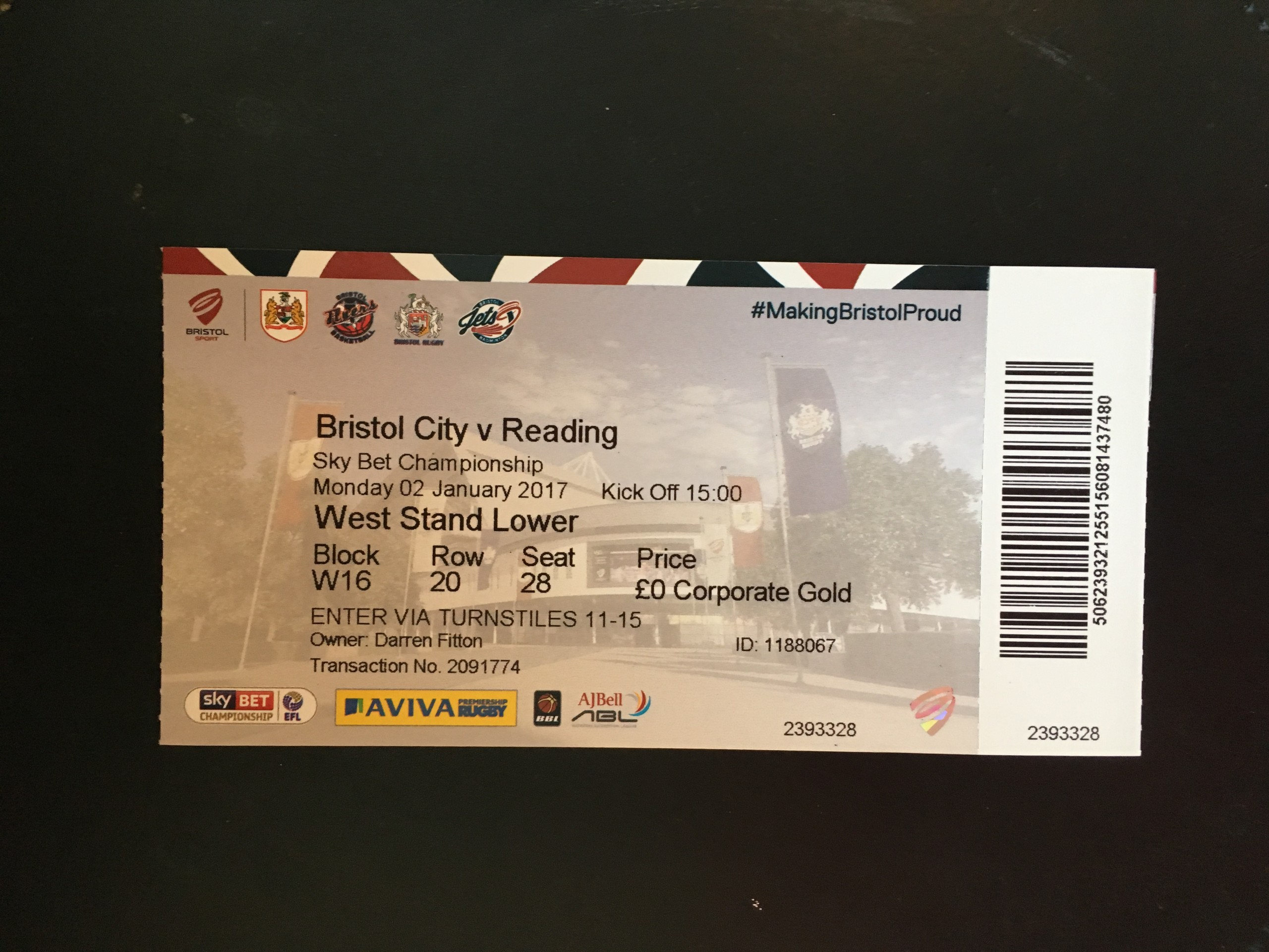 Bristol City v Reading 02-01-2017 Ticket