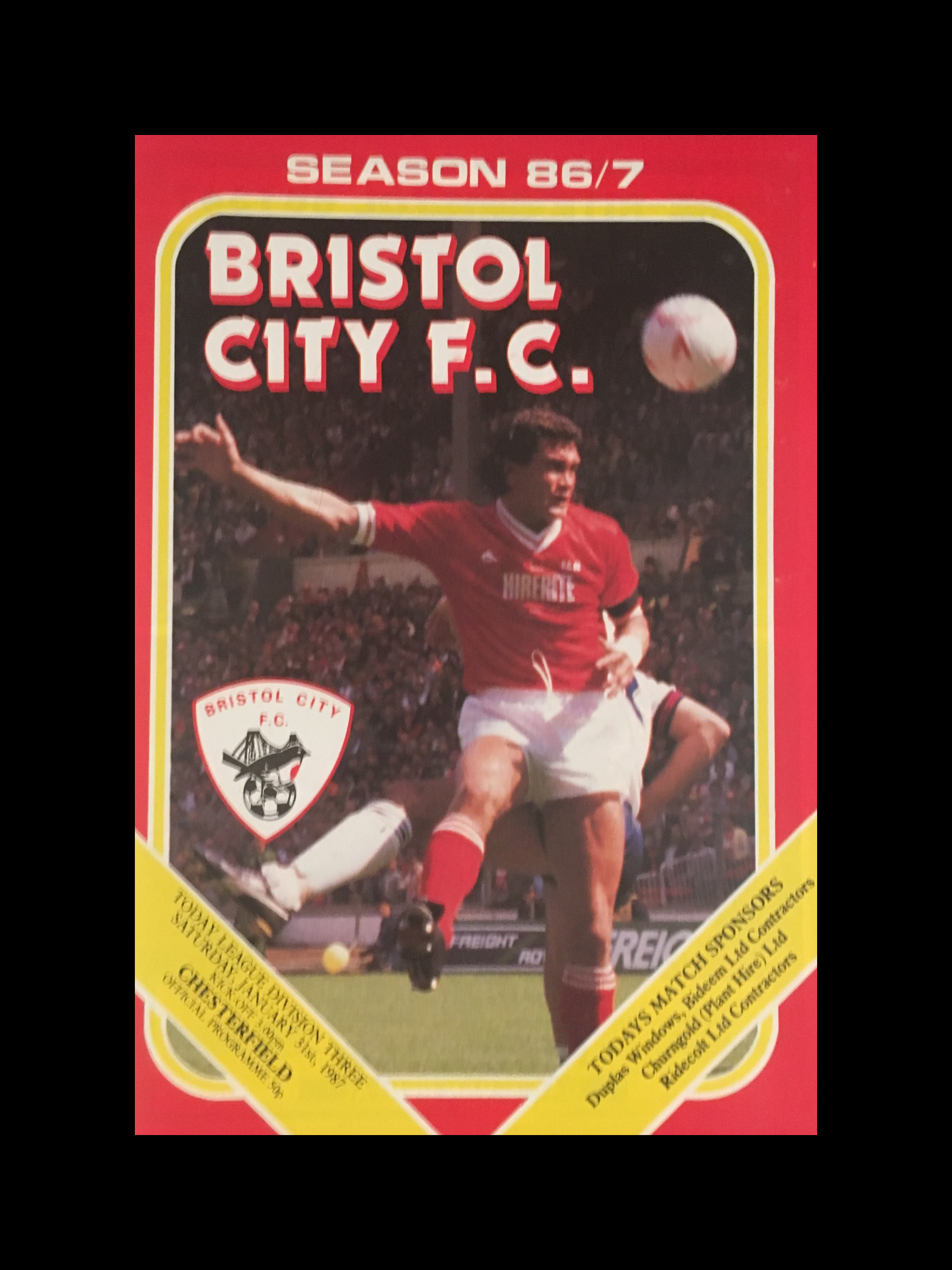 Bristol City v Chesterfield 31-01-87 Programme