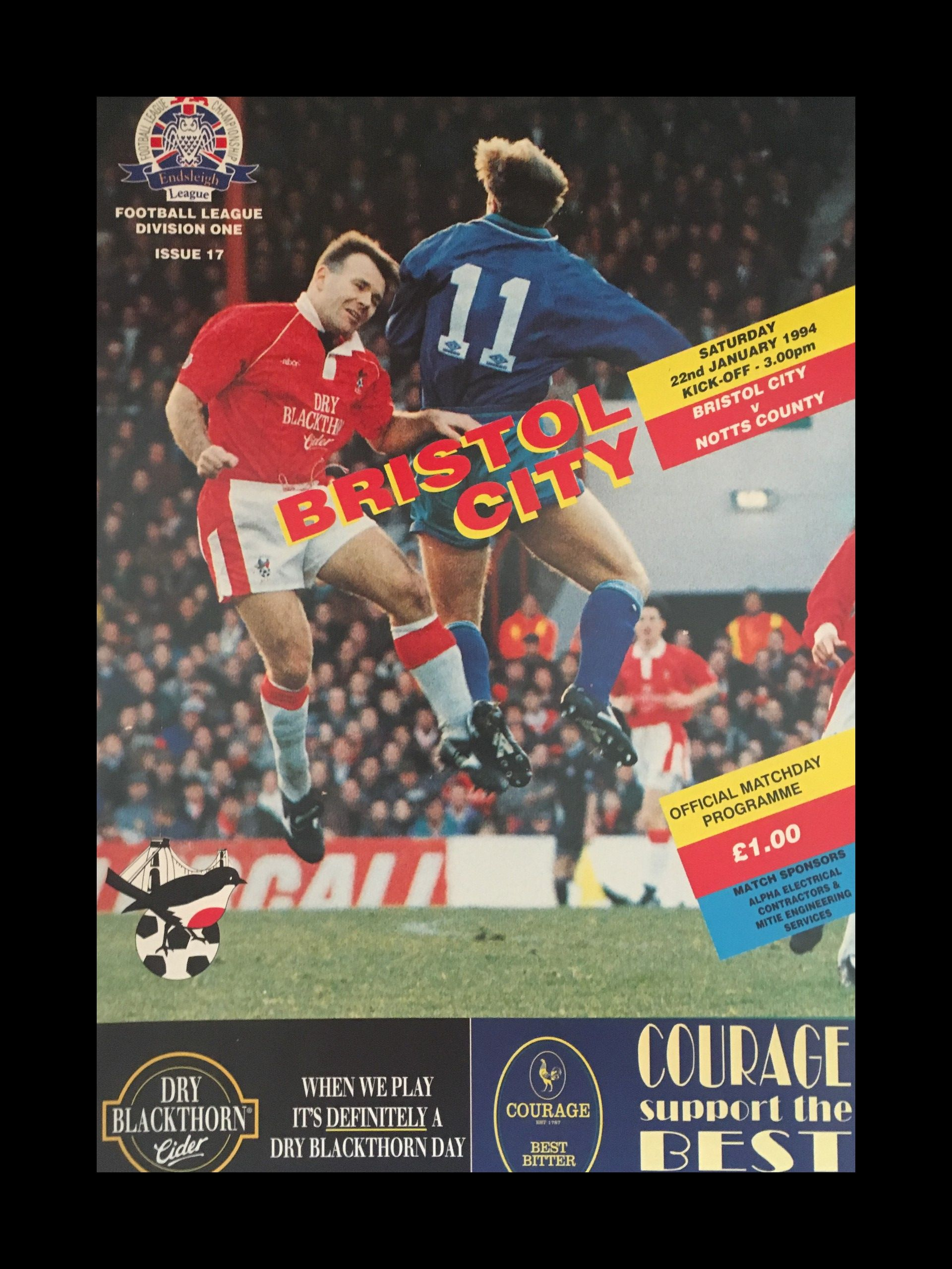Bristol City v Notts County 22-01-1994 Programme