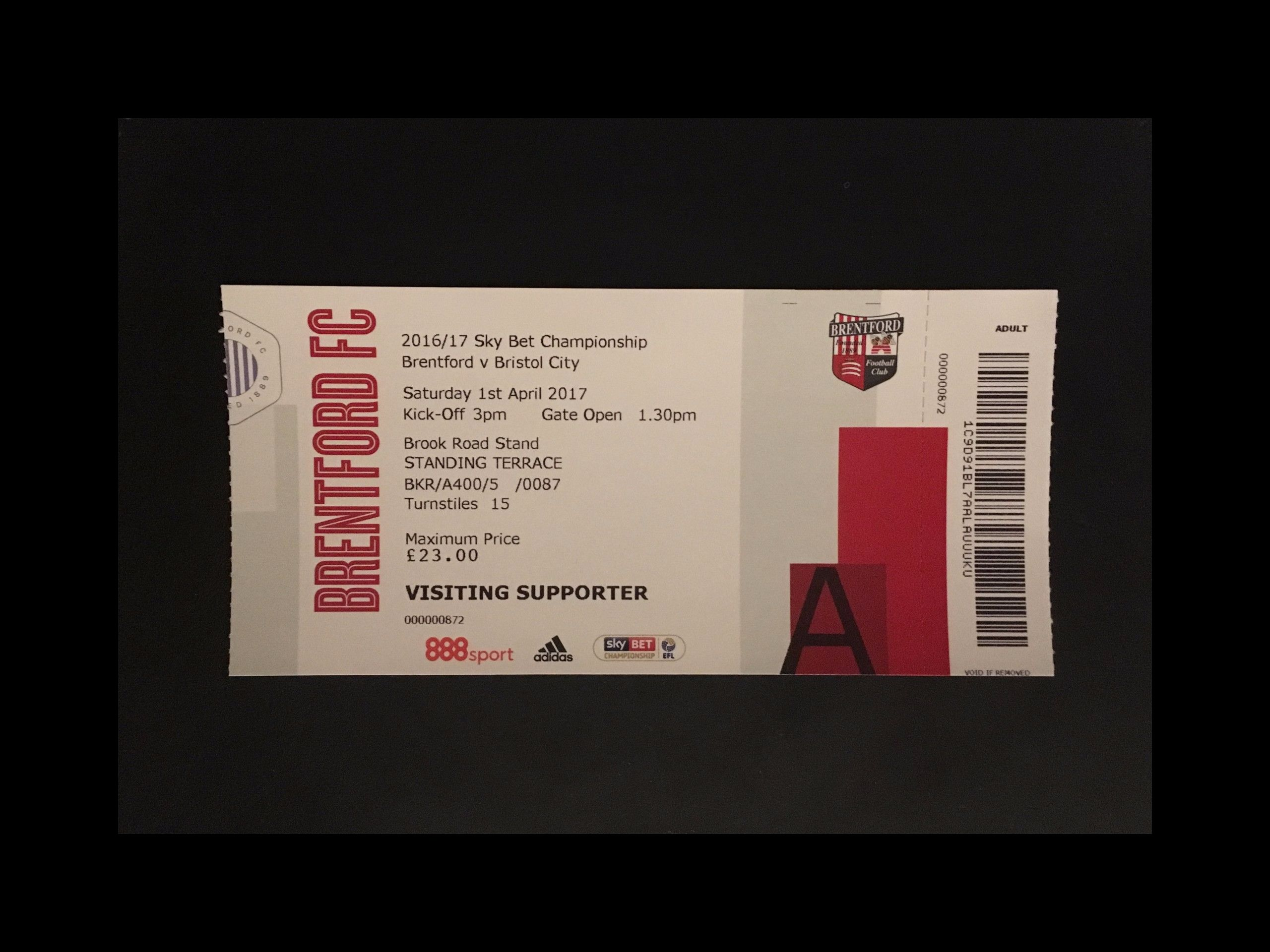 Brentford v Bristol City 01-04-17 Ticket