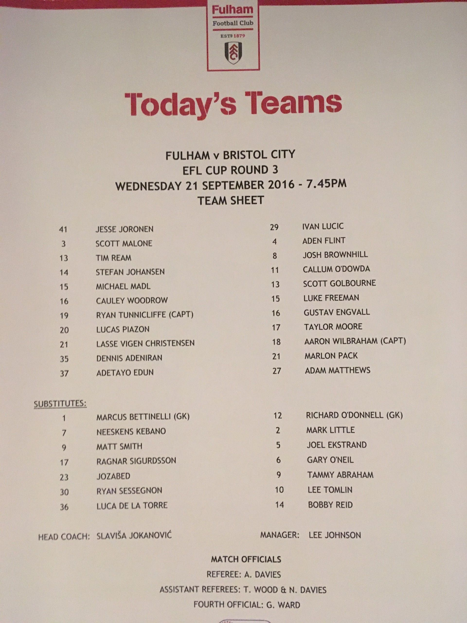 Fulham v Bristol City 21-09-2016 Team Sheet