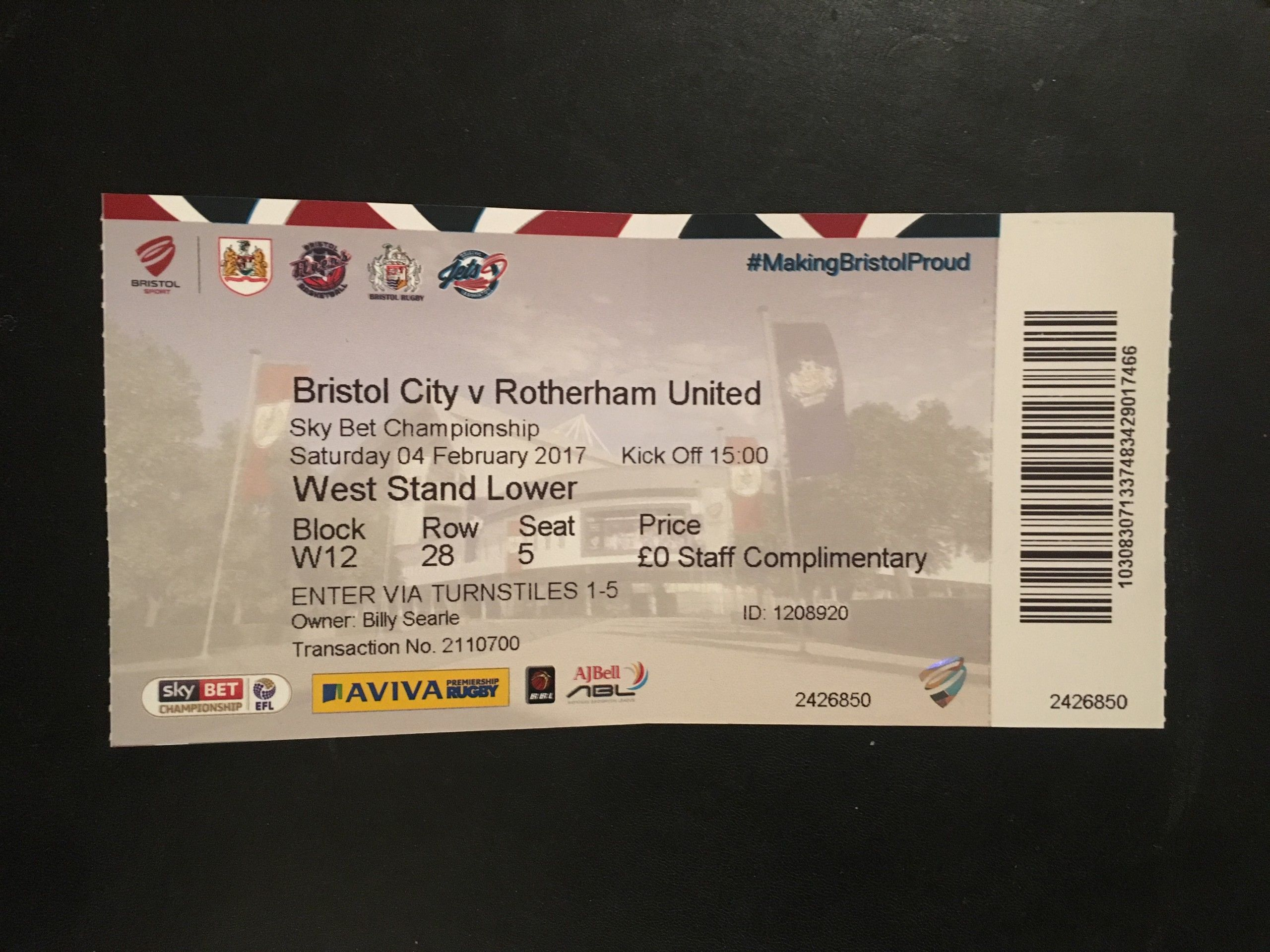 Bristol City v Rotherham United 04-02-2017 Ticket