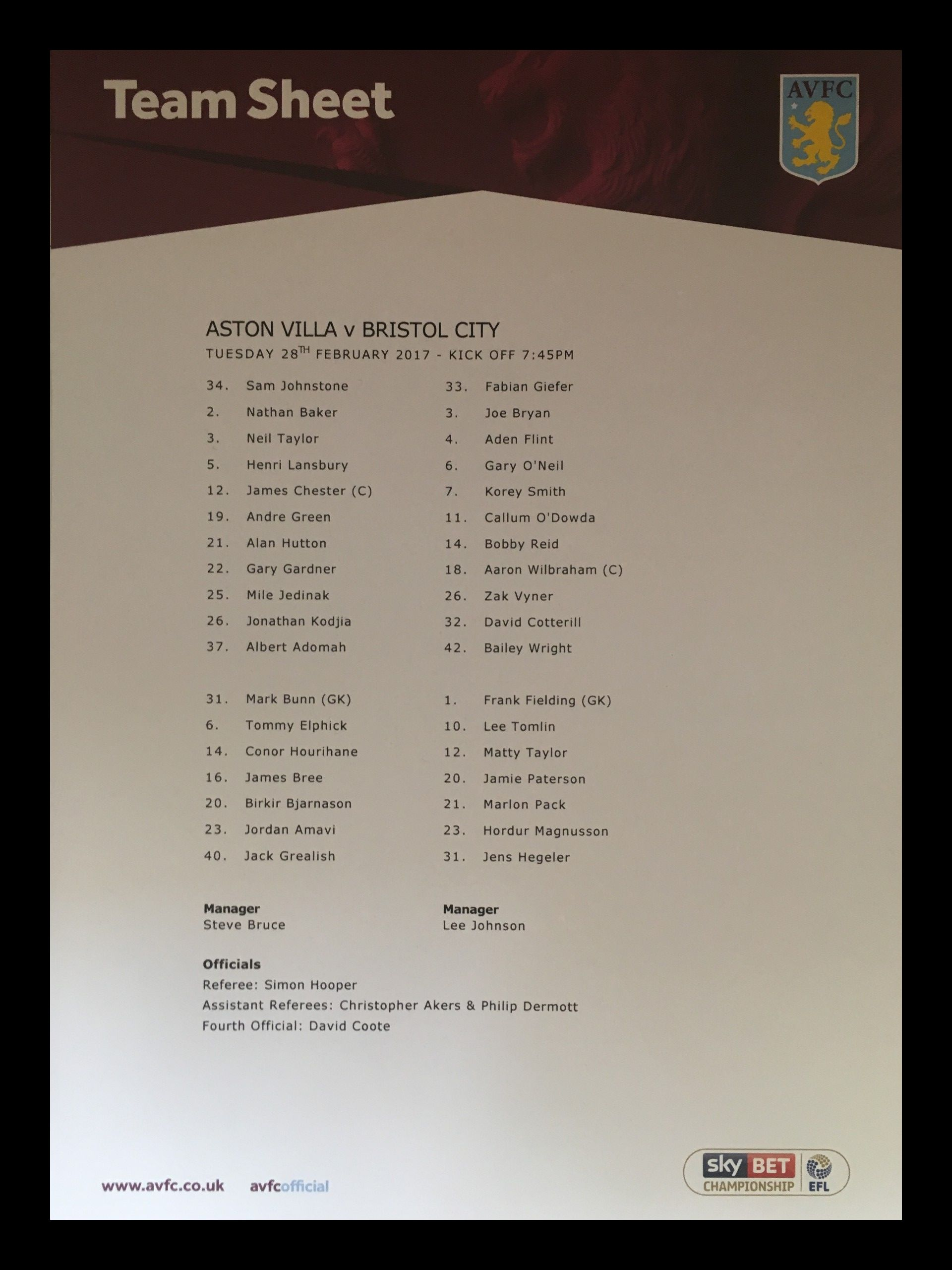 Aston Villa v Bristol City 28-02-17 Team Sheet