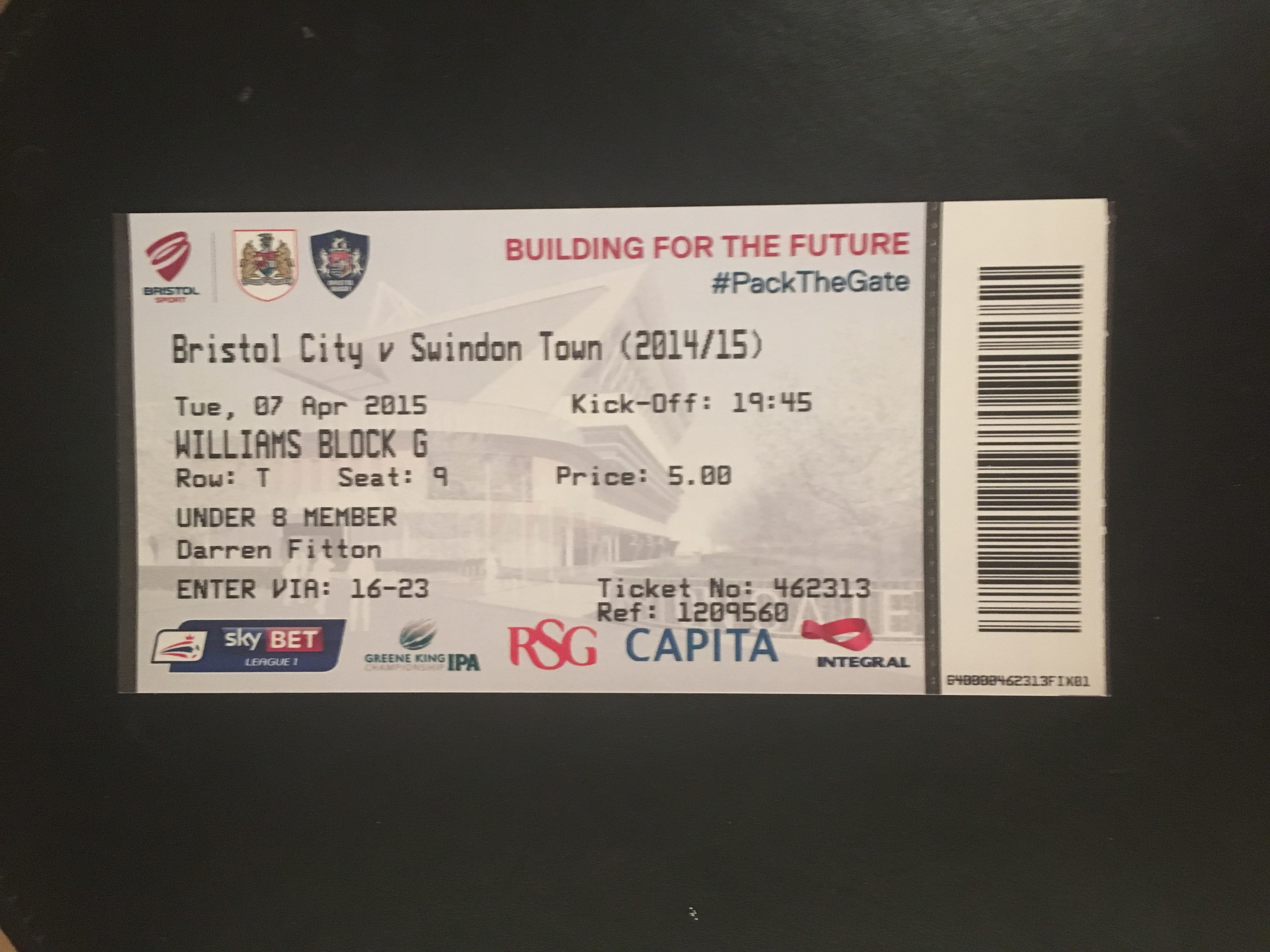 Bristol City v Swindon Town 07-04-2015 Ticket