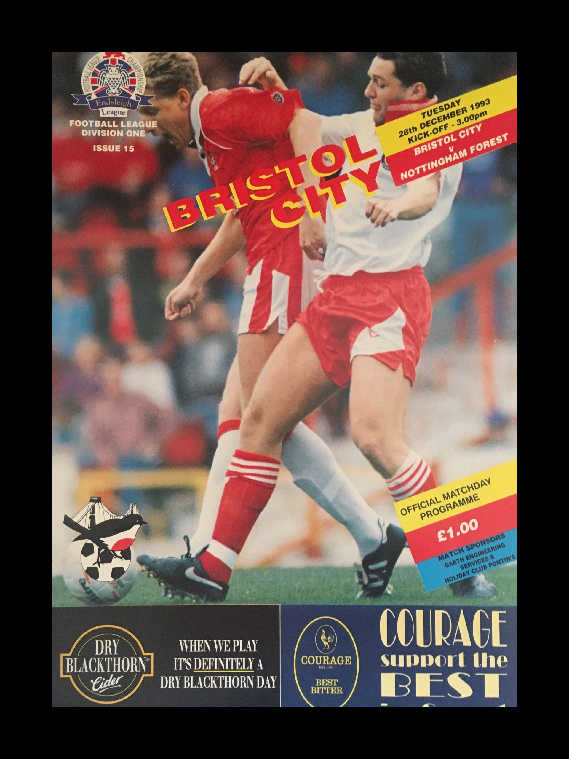 Bristol City v Nottingham Forest 28-12-1993 Programme