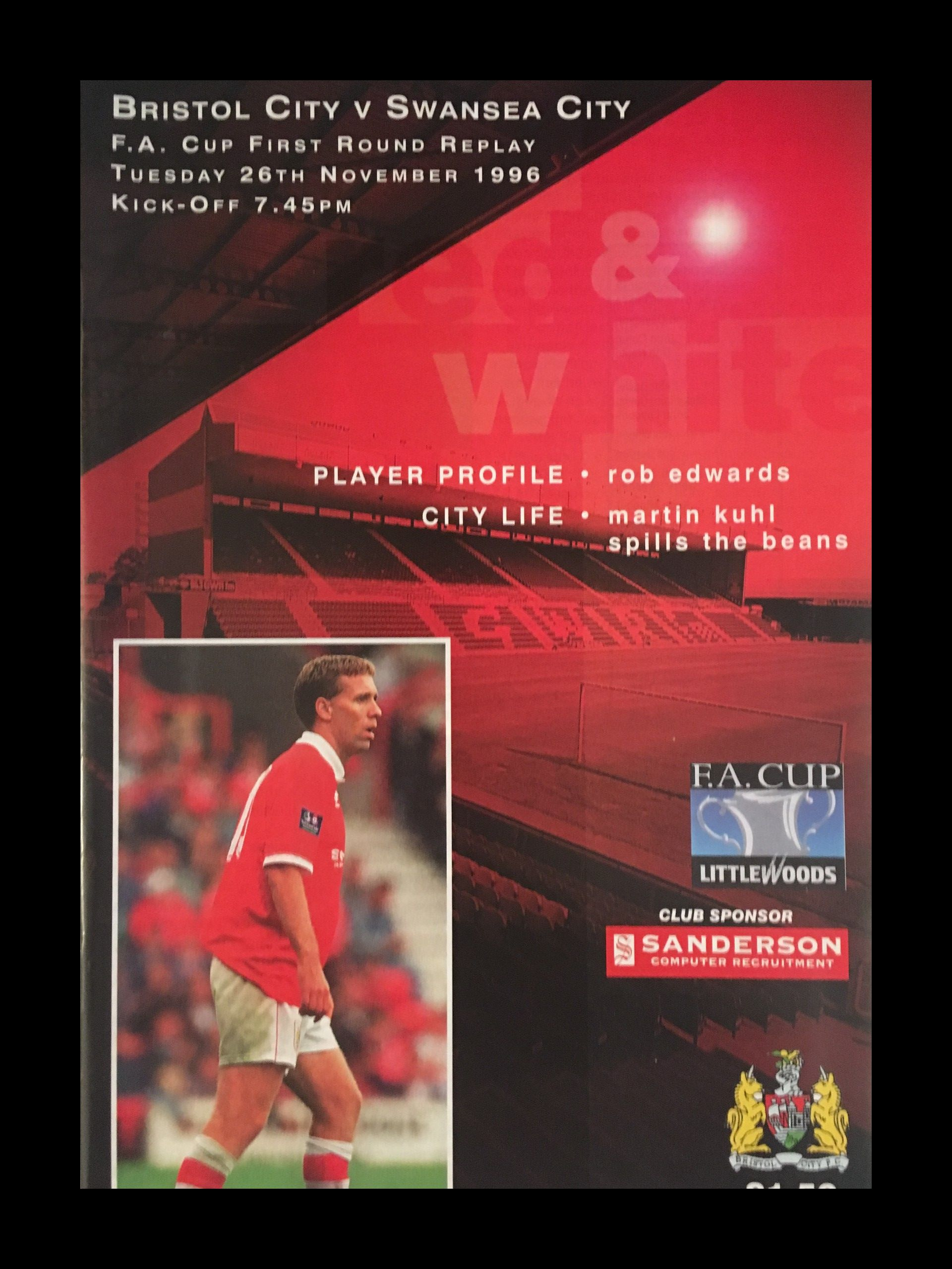 Bristol City v Swansea City 26-11-1996 Programme