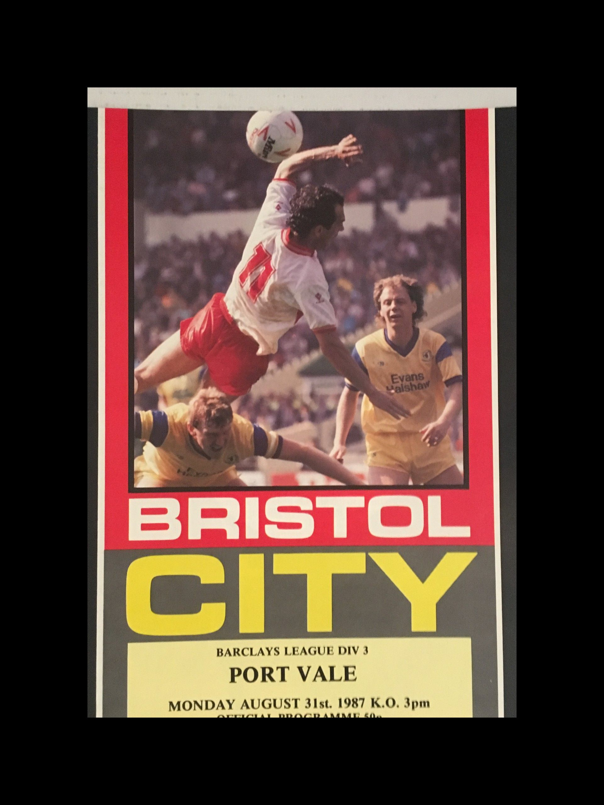 Bristol City v Port Vale 31-08-1987 Programme