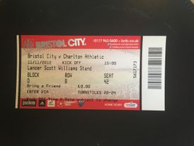 Bristol City v Charlton Athletic 11-11-12 Ticket