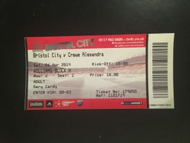 Bristol City v Crewe Alexandra 26-04-2014 Ticket