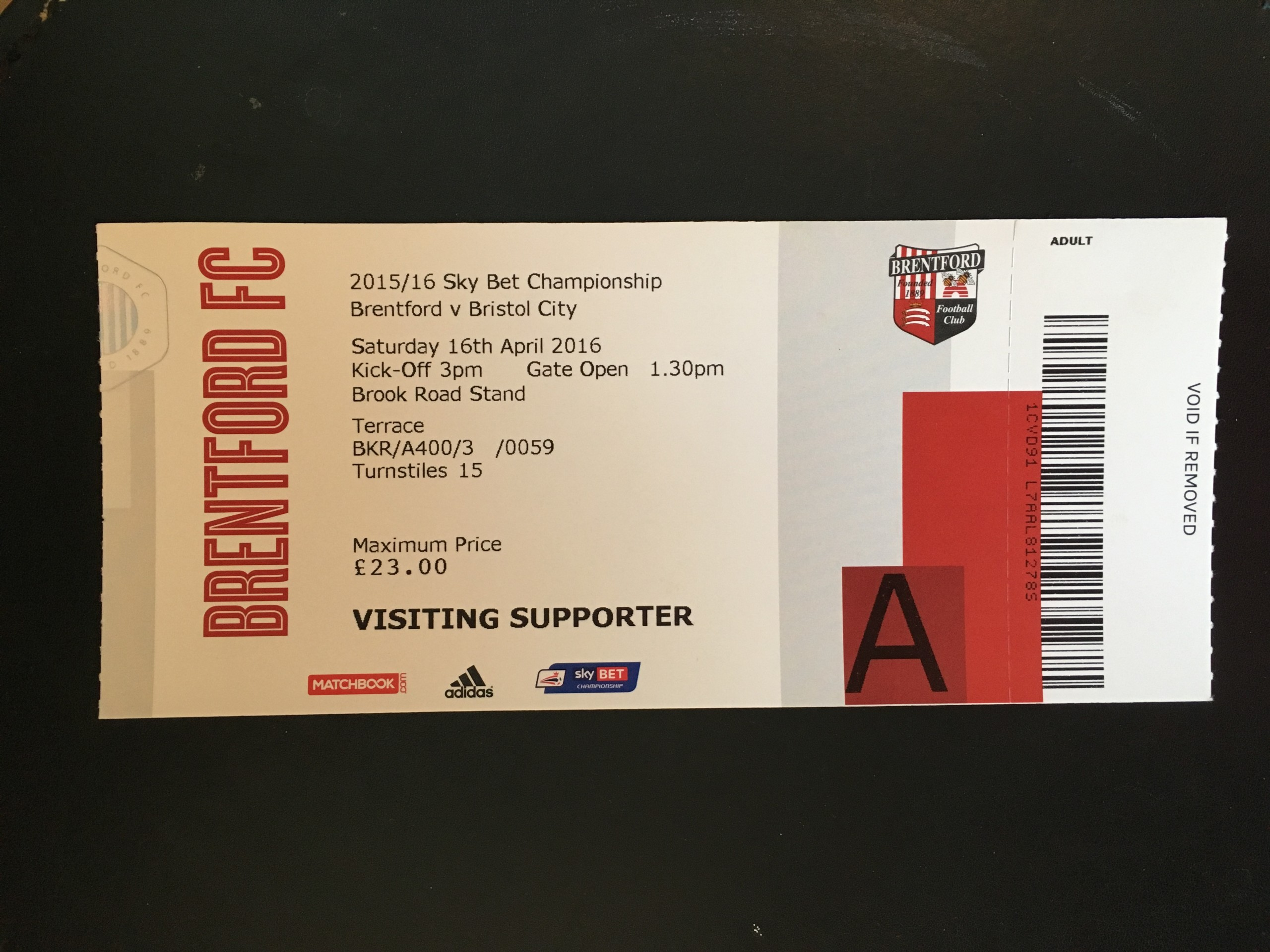 Brentford v Bristol City 16-04-2016 Ticket