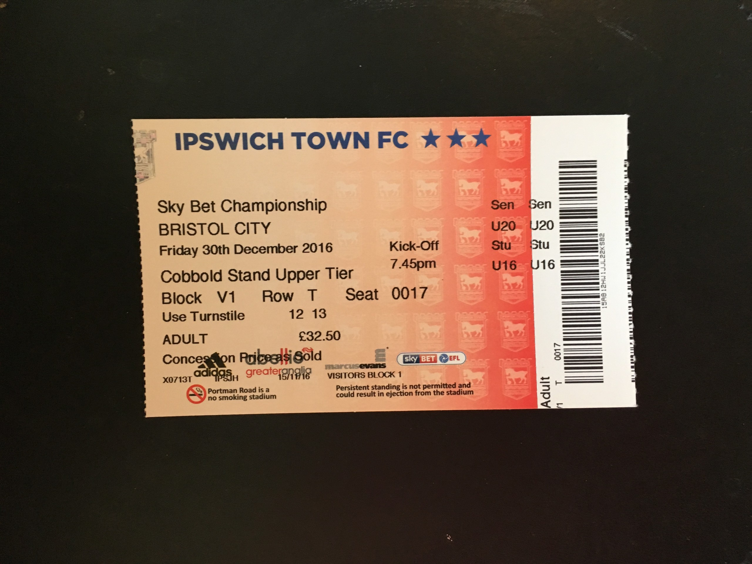 Ipswich Town v Bristol City 30-12-2016 Ticket