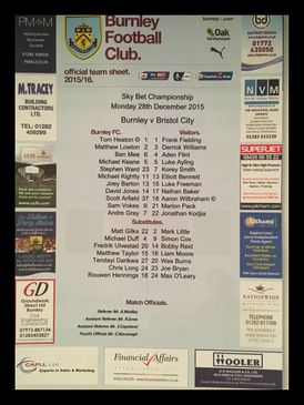 Burnley v Bristol City 28-12-2015 Team Sheet