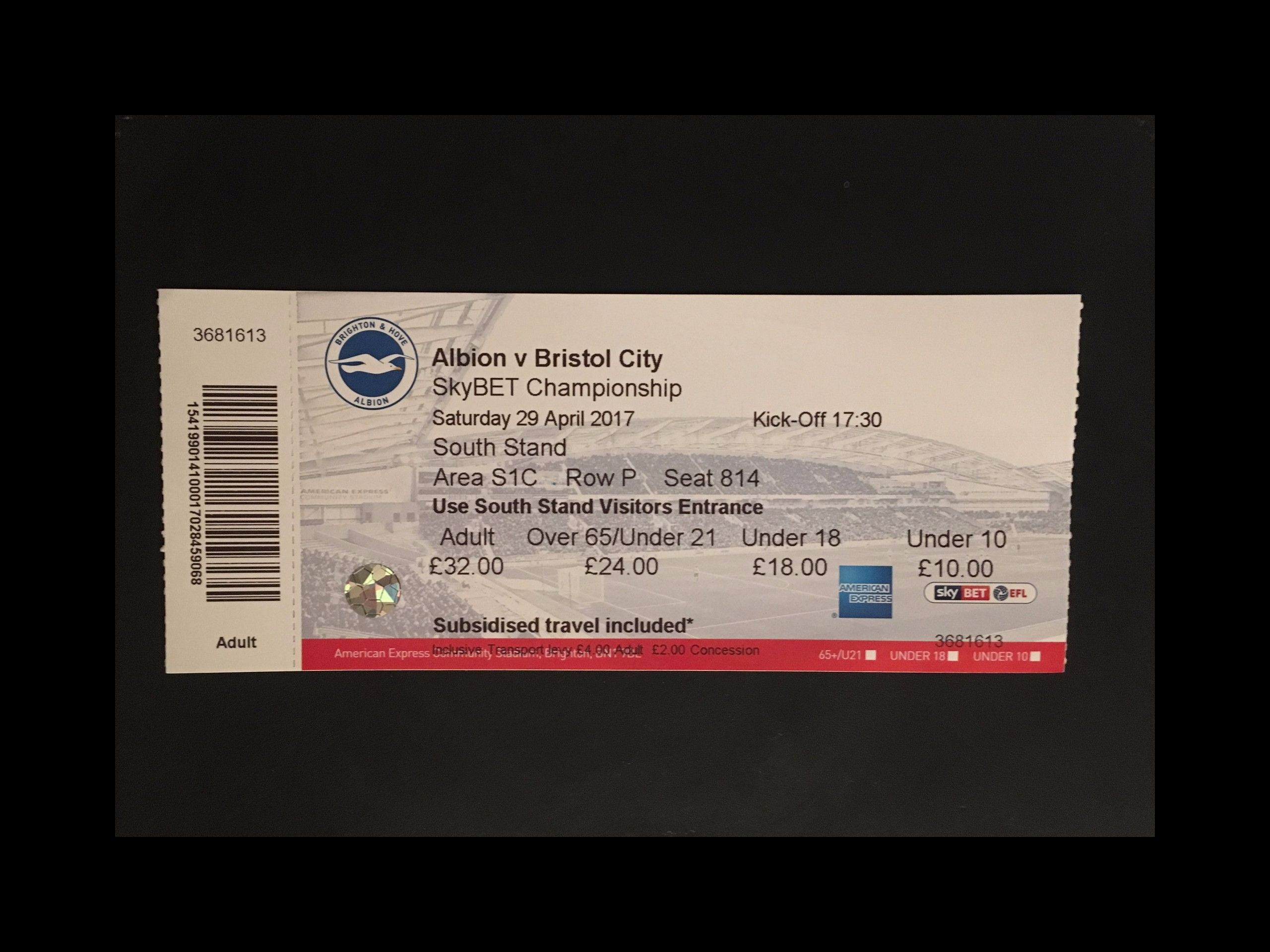 Brighton & Hove Albion v Bristol City 29-04-17 Ticket