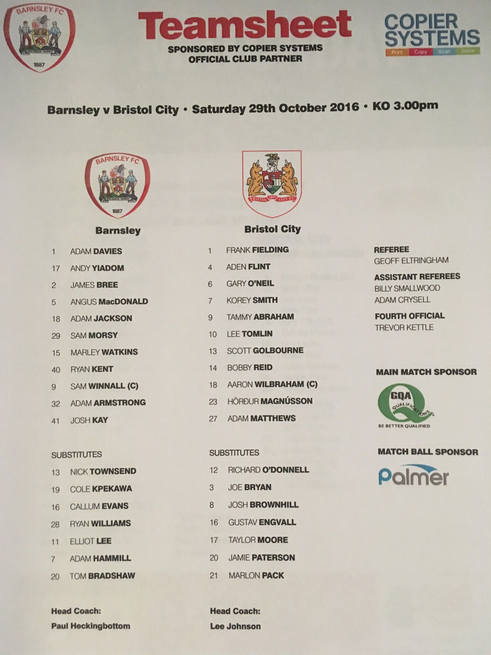 Barnsley v Bristol City 29-10-2016 Team Sheet