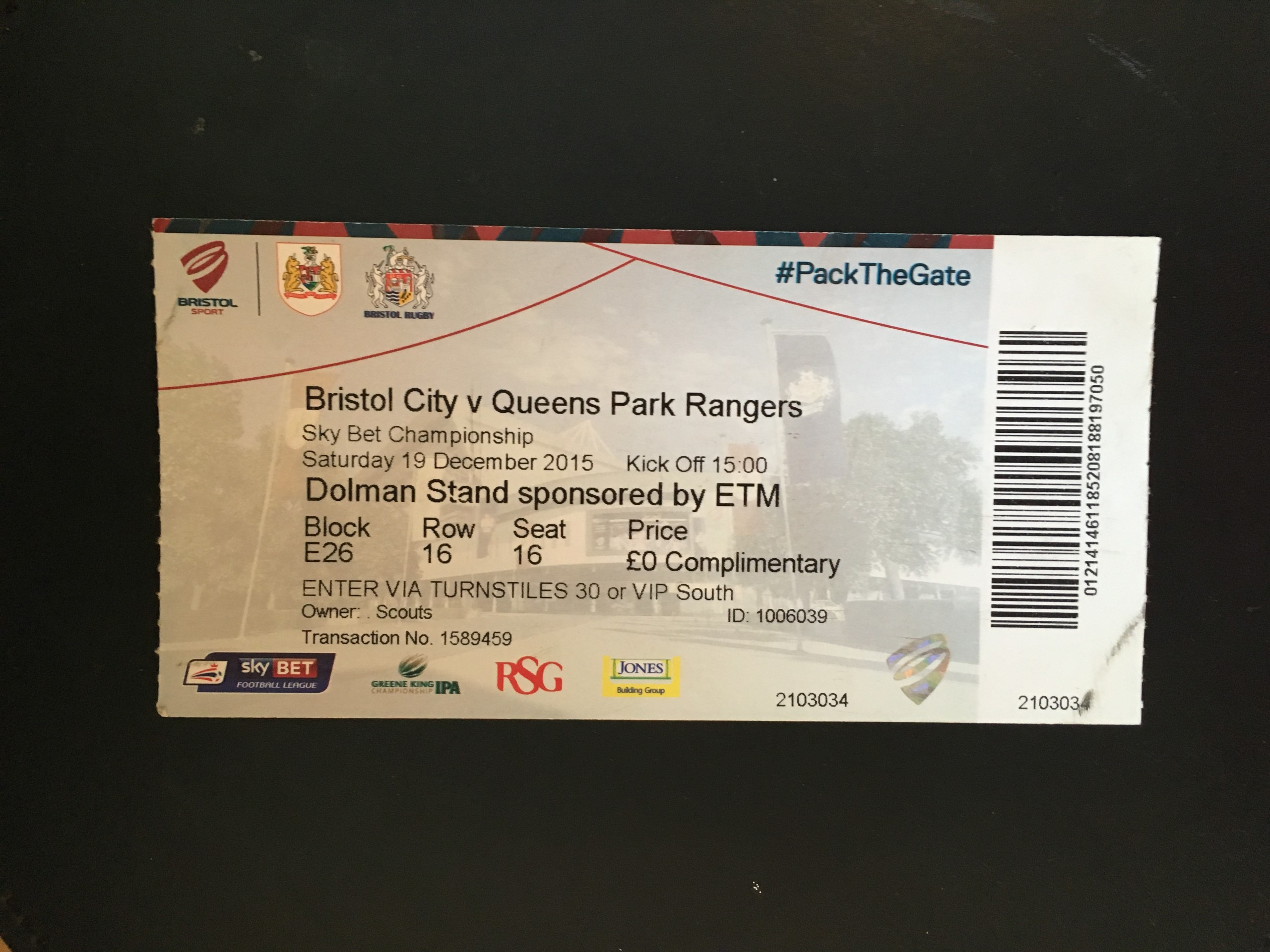 Bristol City v Queens Park Rangers 19-12-2015 Ticket