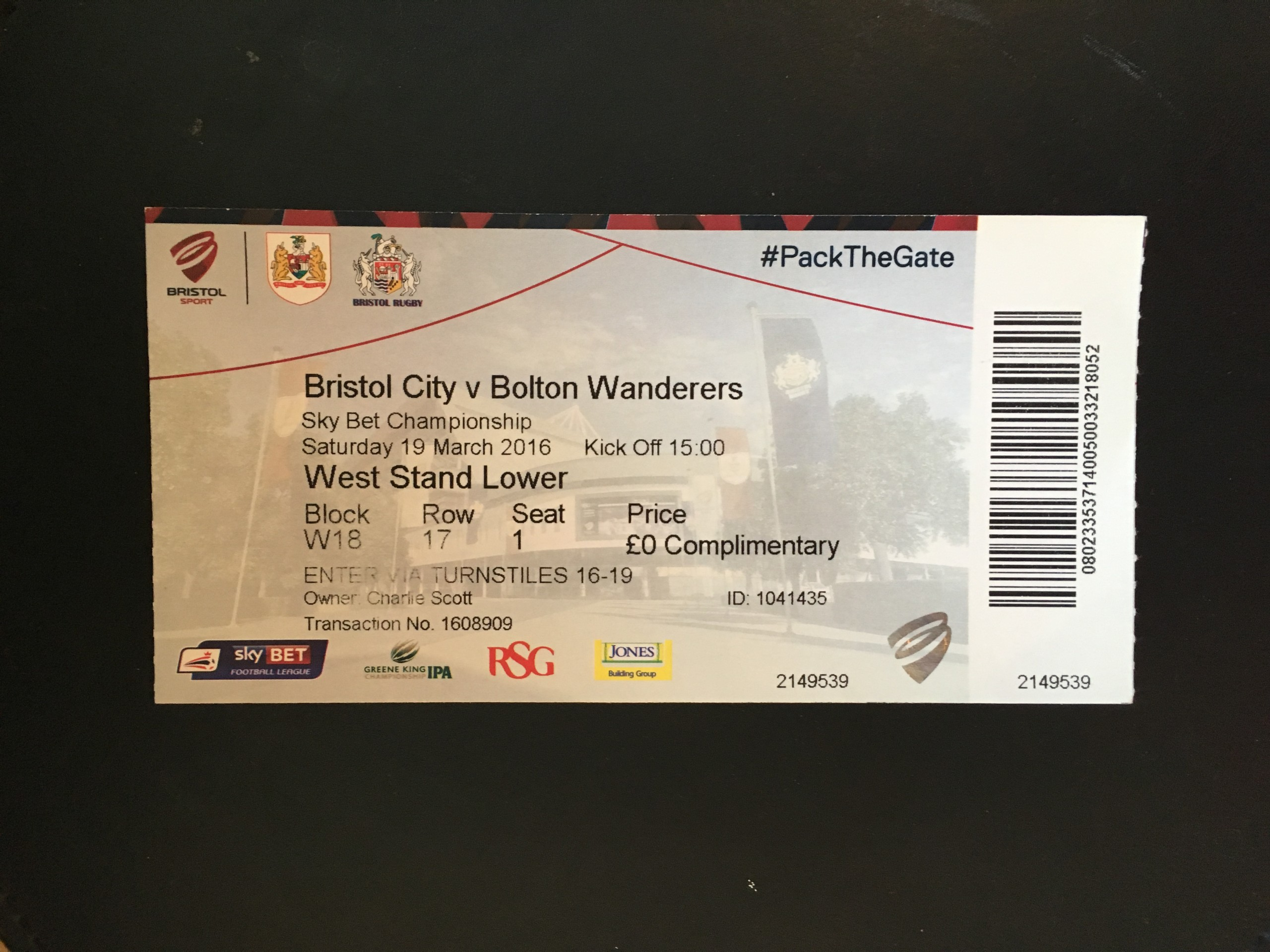 Bristol City v Bolton Wanderers 19-03-2016 Ticket